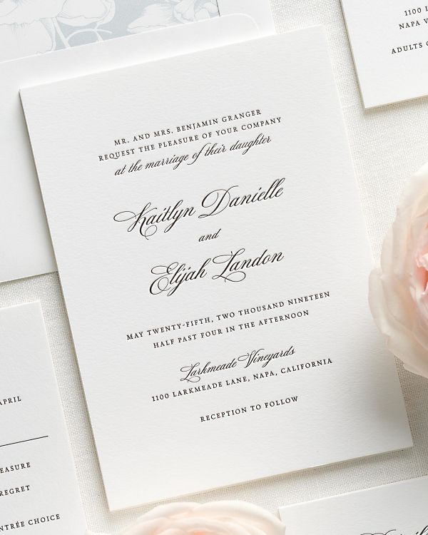 Kaitlyn Letterpress Wedding Invitations