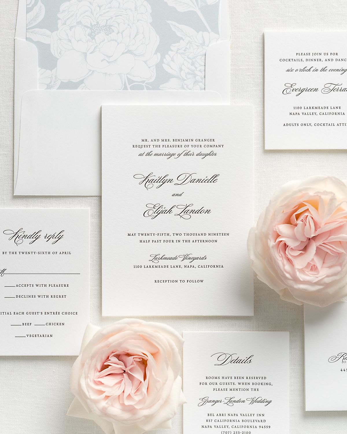 Letterpress Wedding Invitations with Cloud Blooms Envelope Liner and Matching Accessories