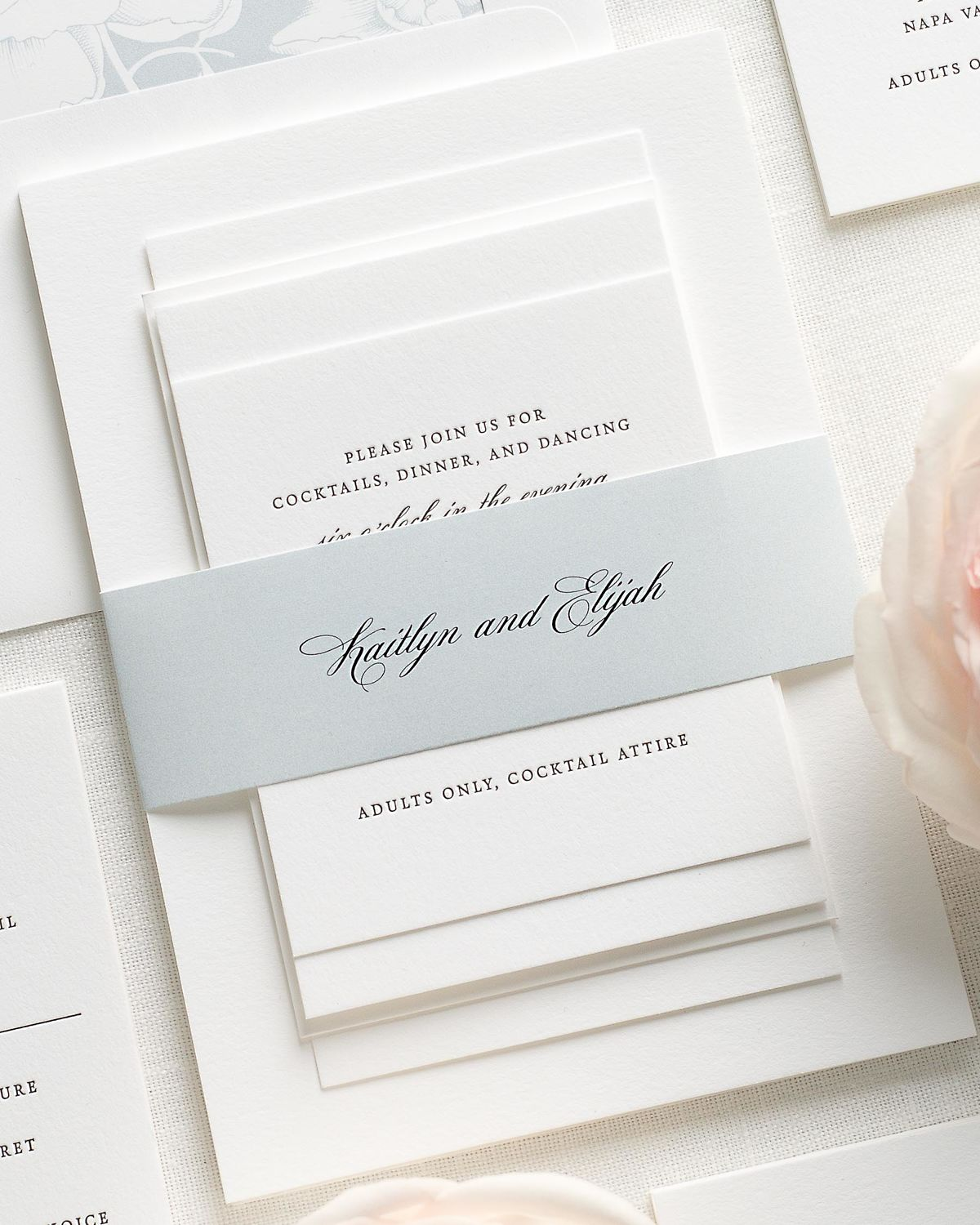 Wedding Invitations with Light Blue Belly Band and Letterpress Printing