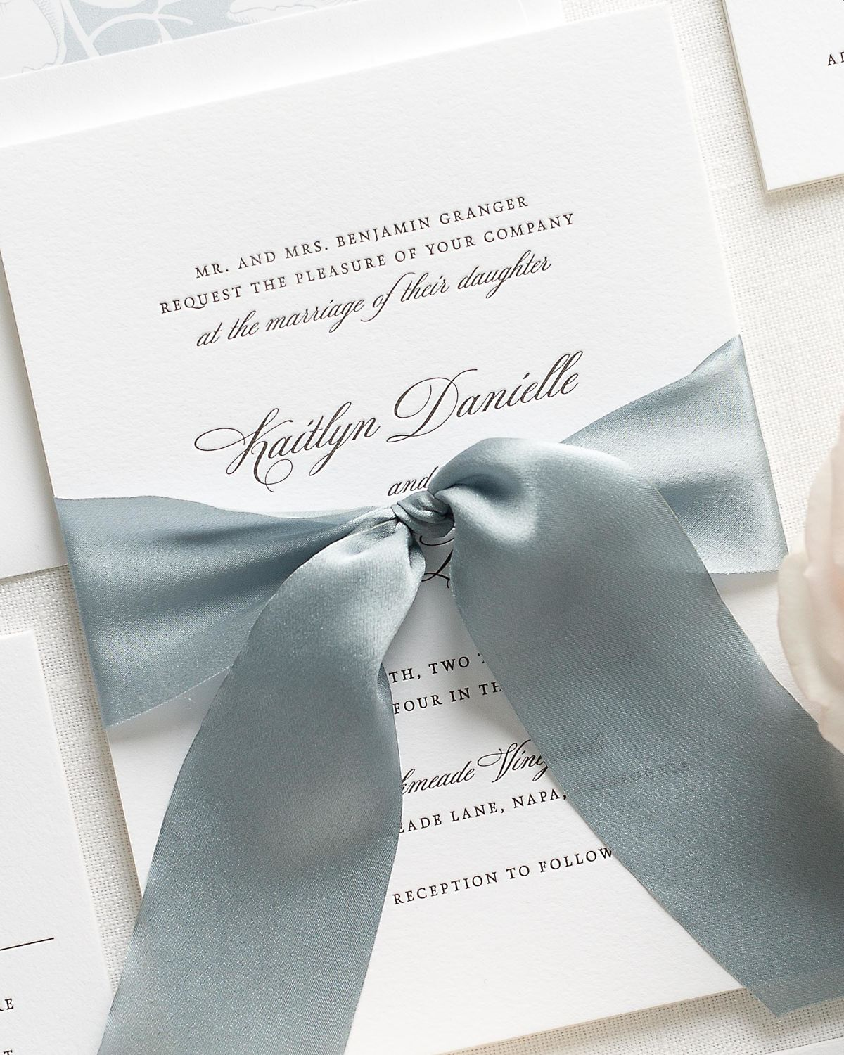 Letterpress Wedding Invitations with Whisper Blue Ribbon