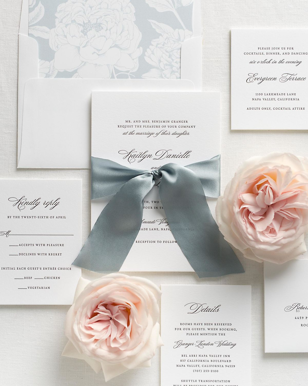 Light Blue Wedding Invitations with Whisper Silk Ribbon and Letterpress Printing