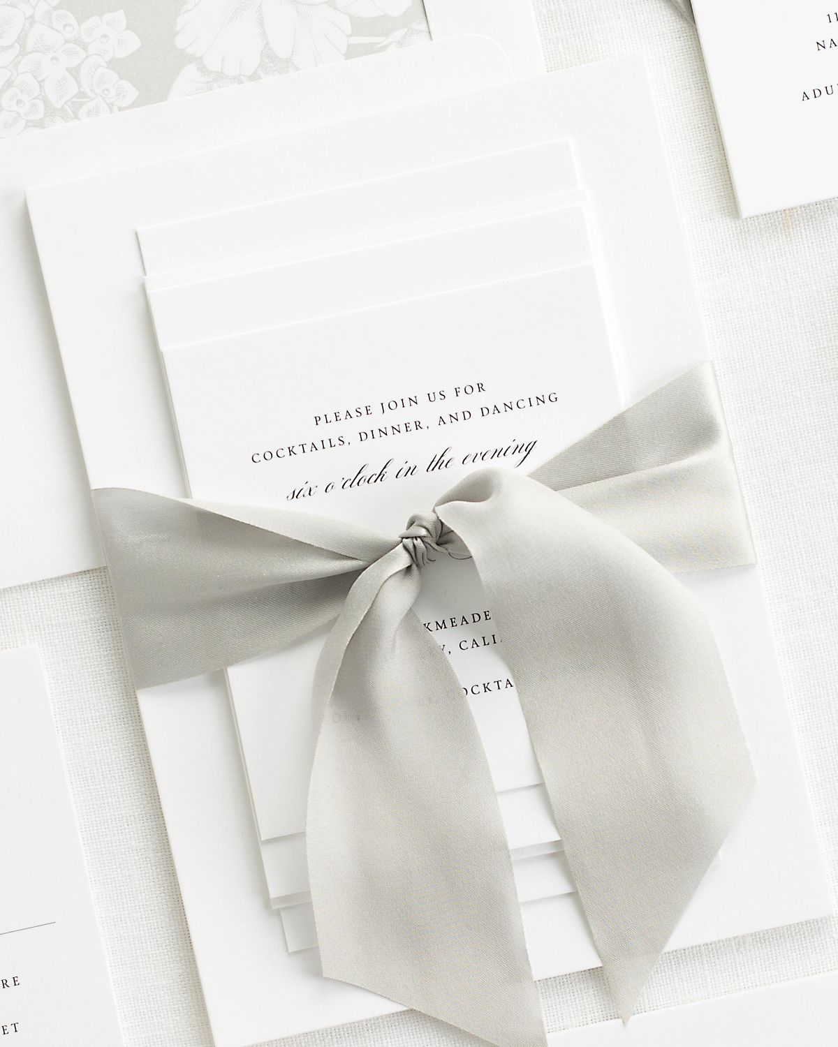 Complete Wedding Stationery Set with Fog Gray Ribbon and Enclosures