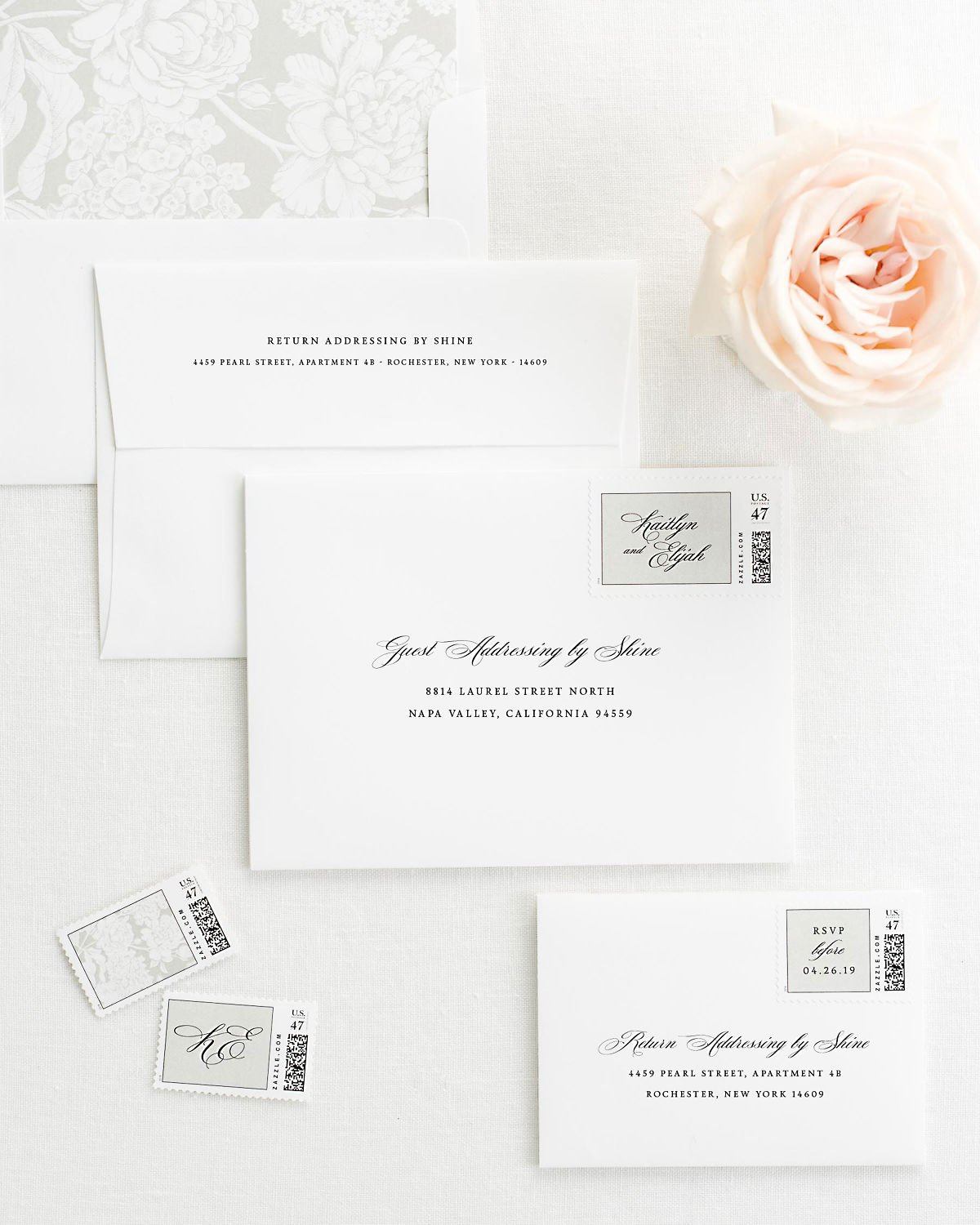 Wedding Invitation Envelopes with Pre-Printed Addresses and Matching Stone Gray Custom Postage