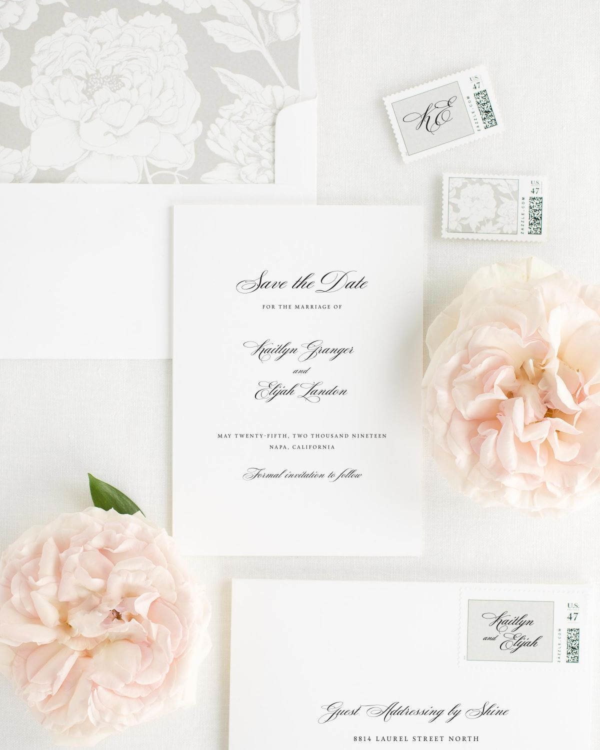 Save the Date with Stone Envelope Liner and Custom Stamps