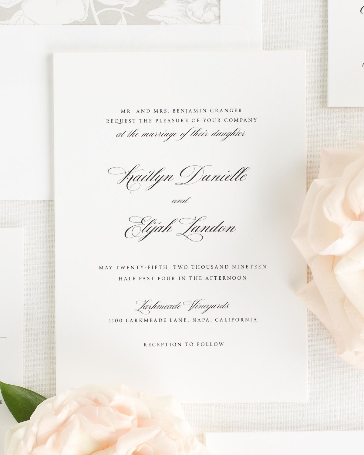 Wedding Invitations with Small Script Names