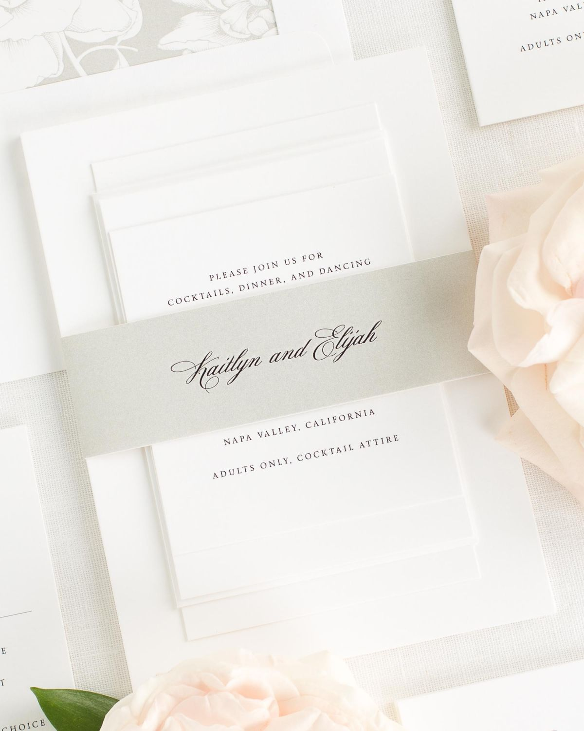 Stone Wedding Invitations with Belly Band and Blooms Envelope Liner