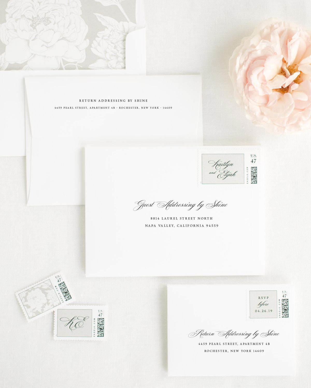 Wedding Invitation Envelopes with Stone Personalized Postage and Blooms Liner