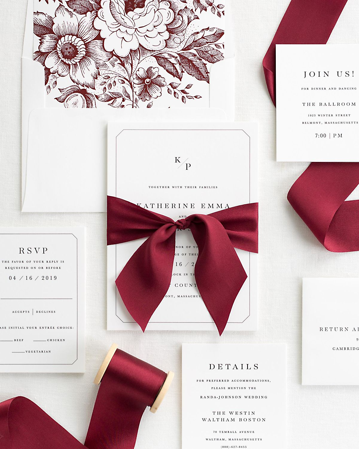 Katherine Ribbon Wedding Invitation Collection | Shine Wedding ...