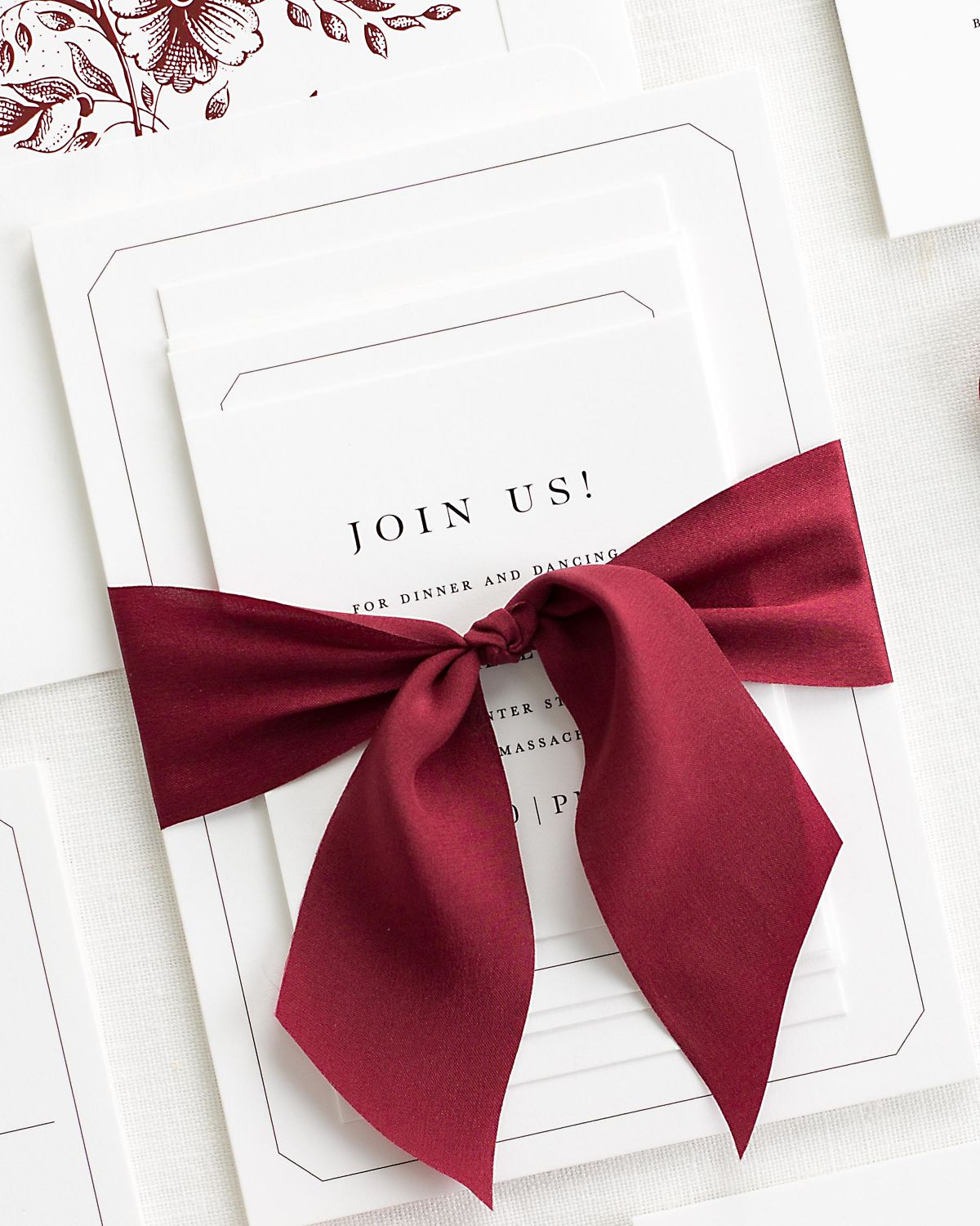 Complete Wedding Stationery Suite with Wine Ribbon and Enclosures