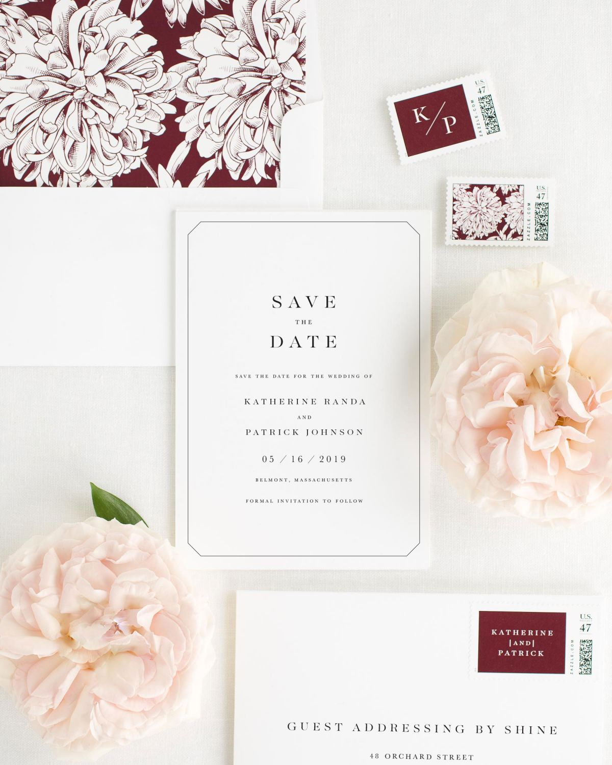 Save the Date with Cabernet Envelope Liner and Custom Stamps