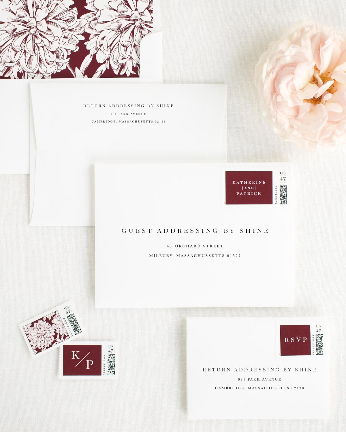 Wedding Invitation Envelopes with Cabernet Personalized Postage and Dahlias Liner