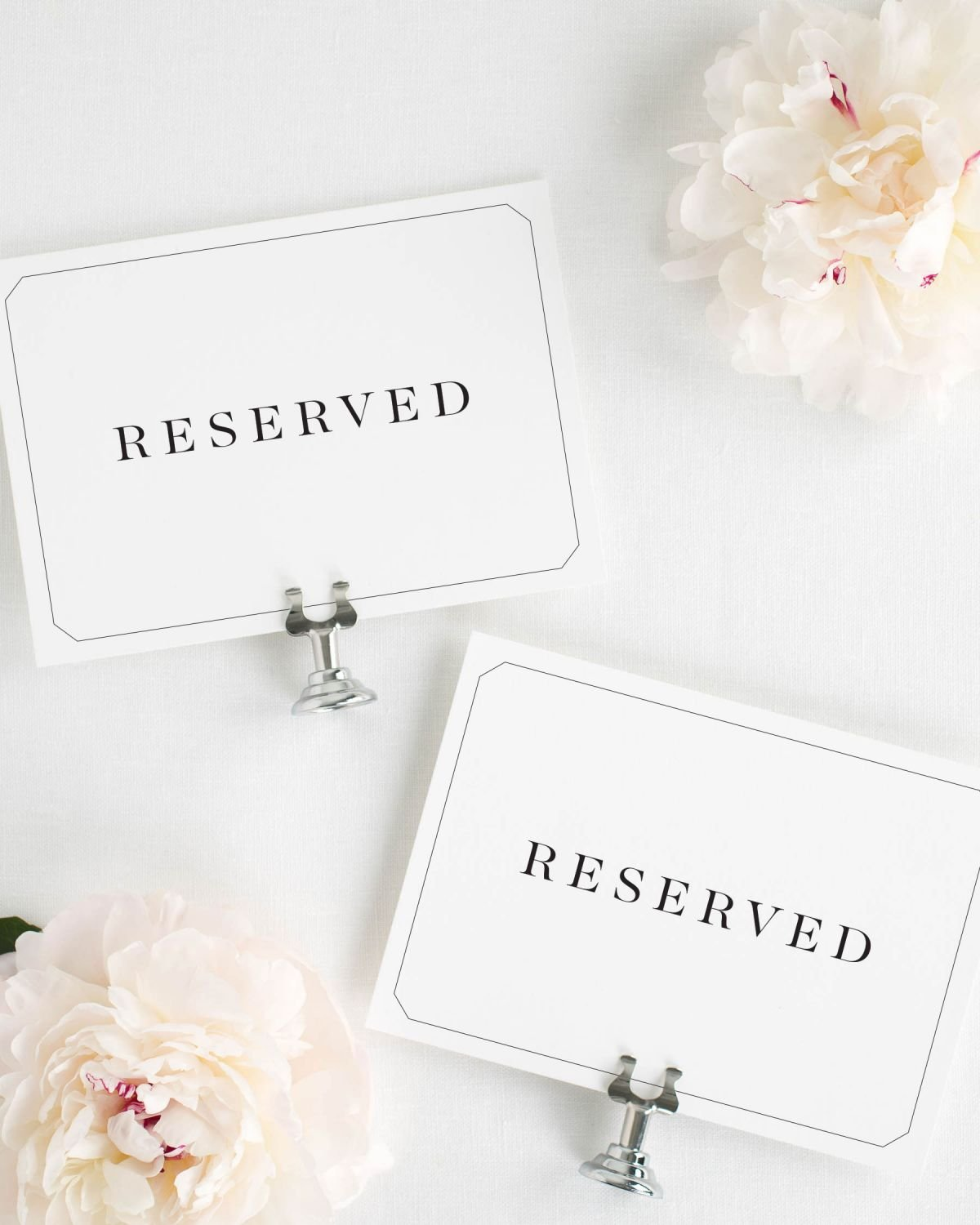 Reserved Sign for Wedding Reception, Ceremony or VIP Tables ...