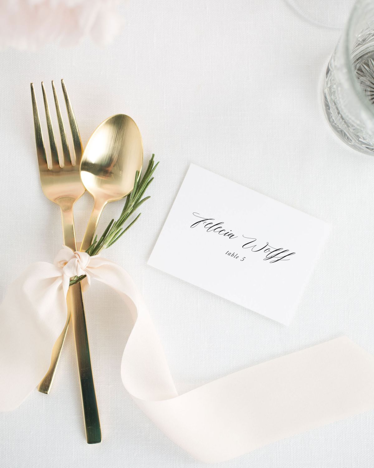 Calligraphy Place Cards with Silk Ribbon