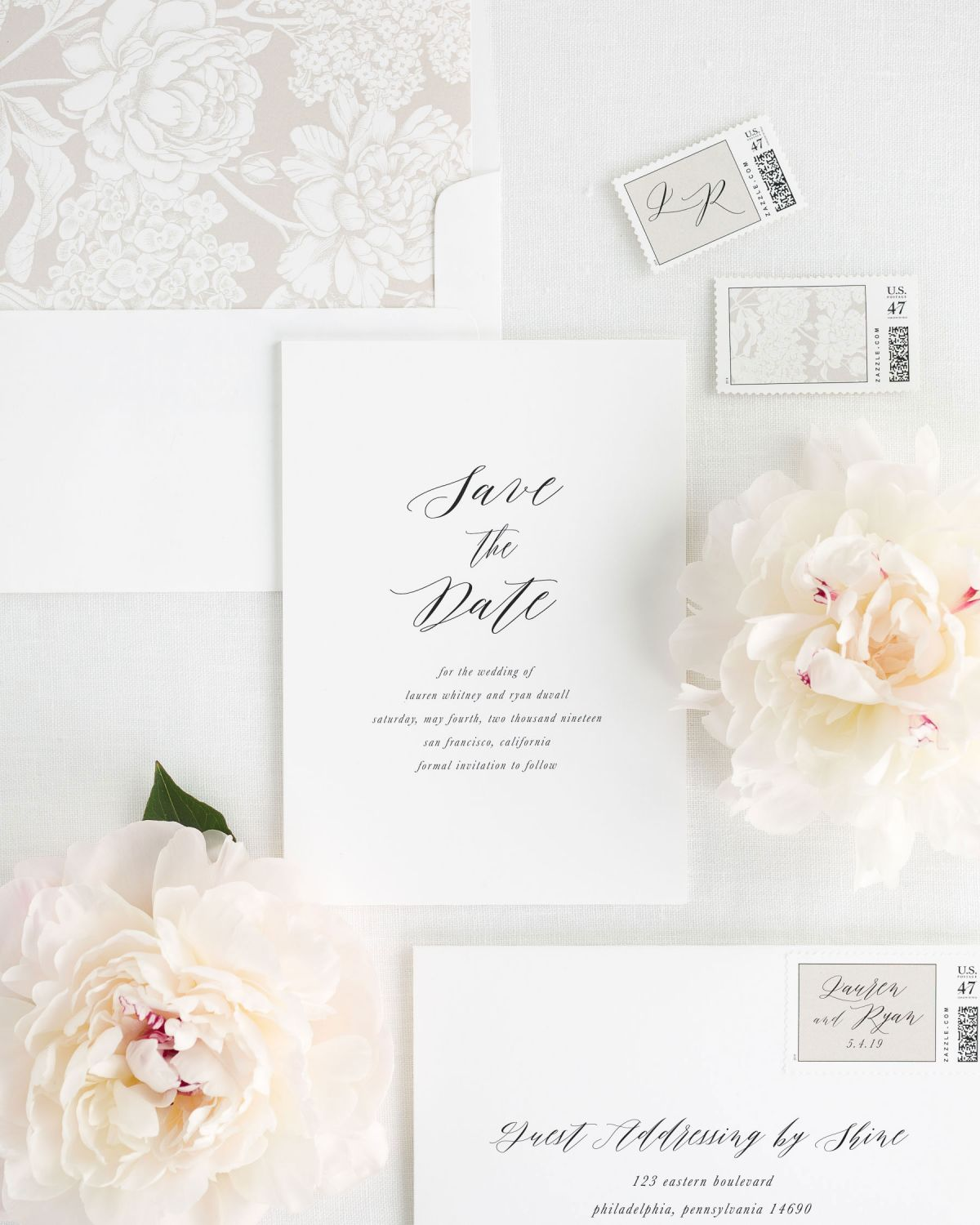 Save the Date with Mocha Envelope Liner and Personalized Stamps