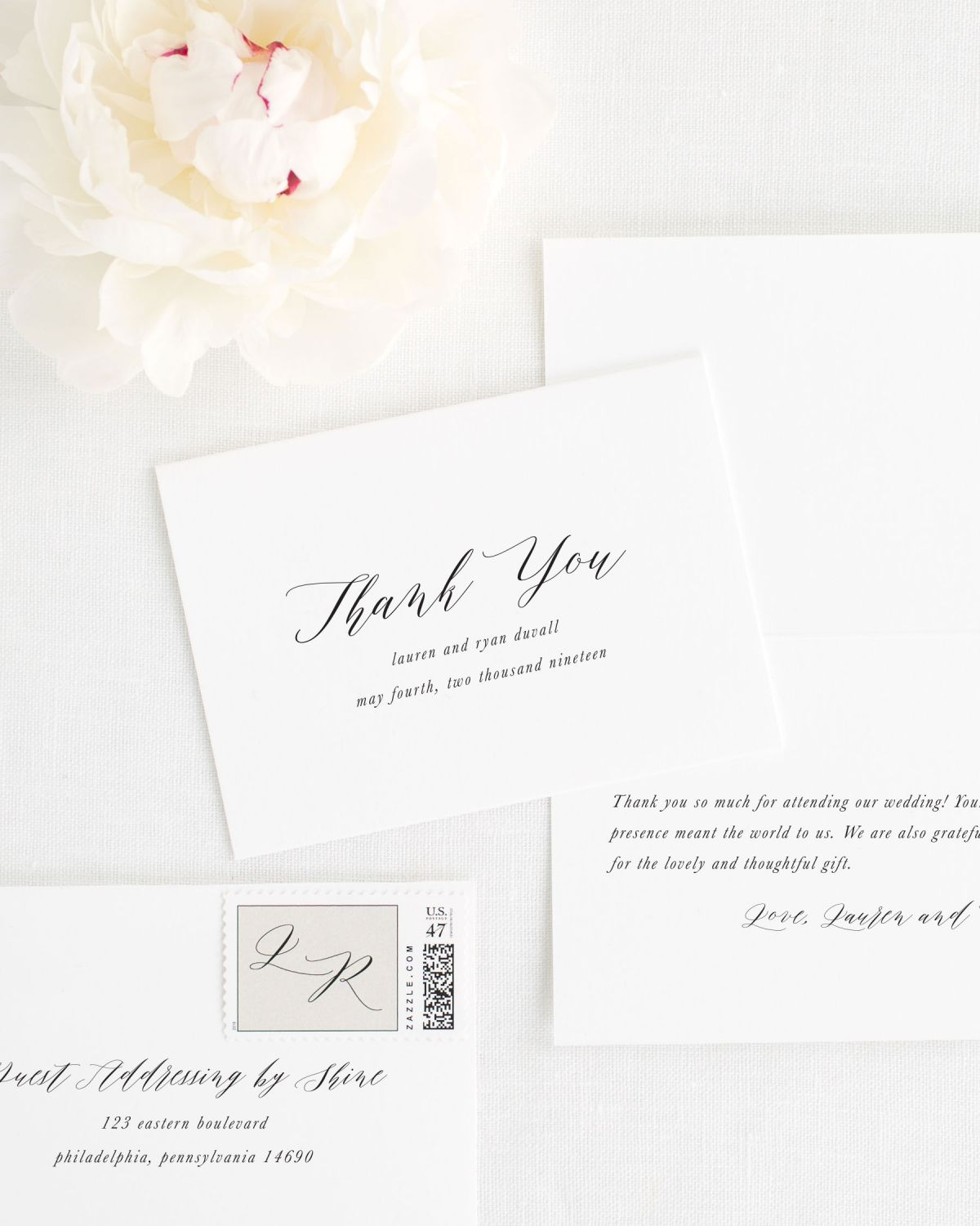 Modern Calligraphy Wedding Invitations with a Floral Envelope Liner ...