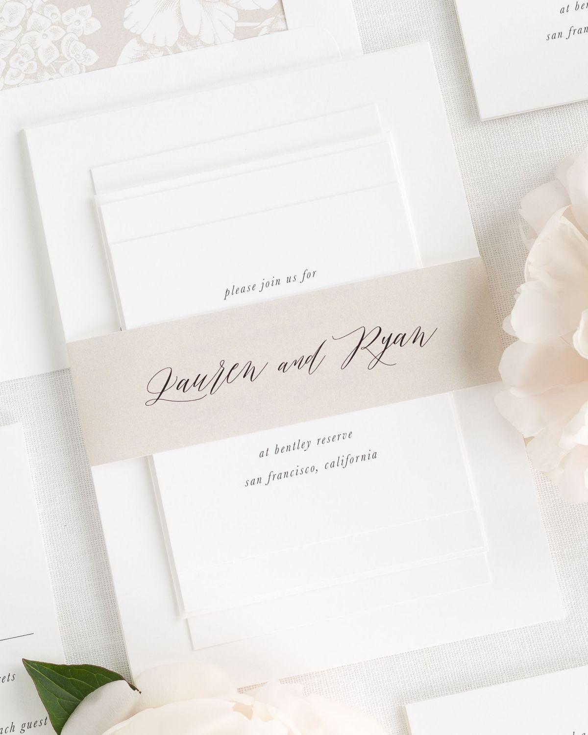 Mocha Wedding Invitations with Belly Band