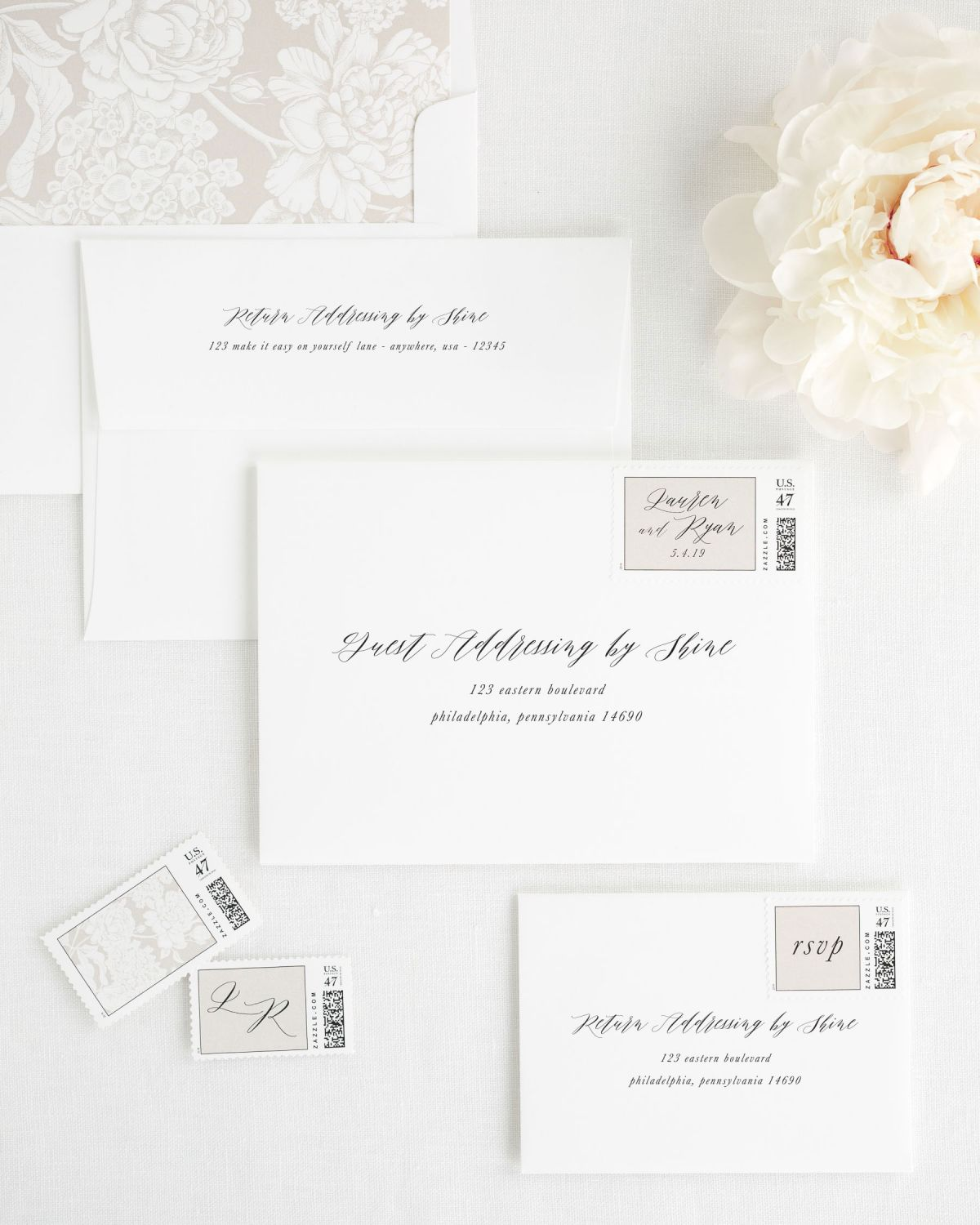 Wedding Invitation Envelopes with Recipient Addressing and Matching Stamps