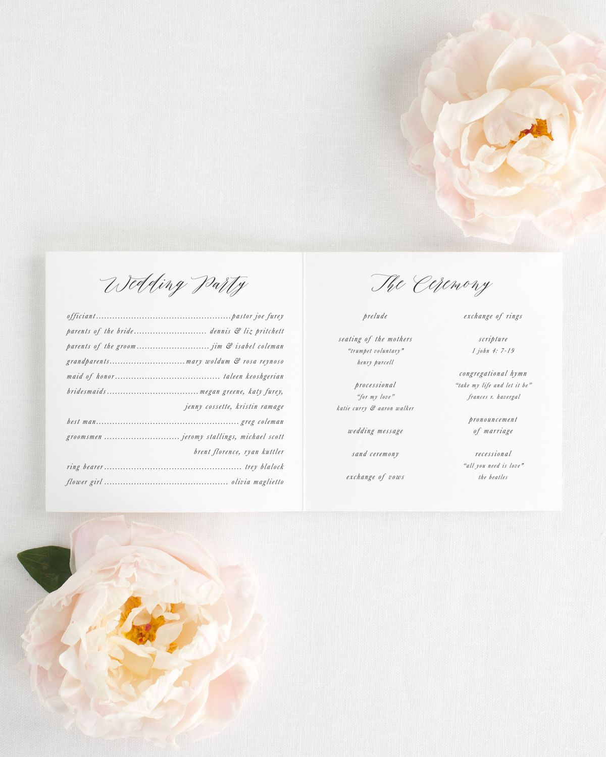 Trifold Wedding Program Interior