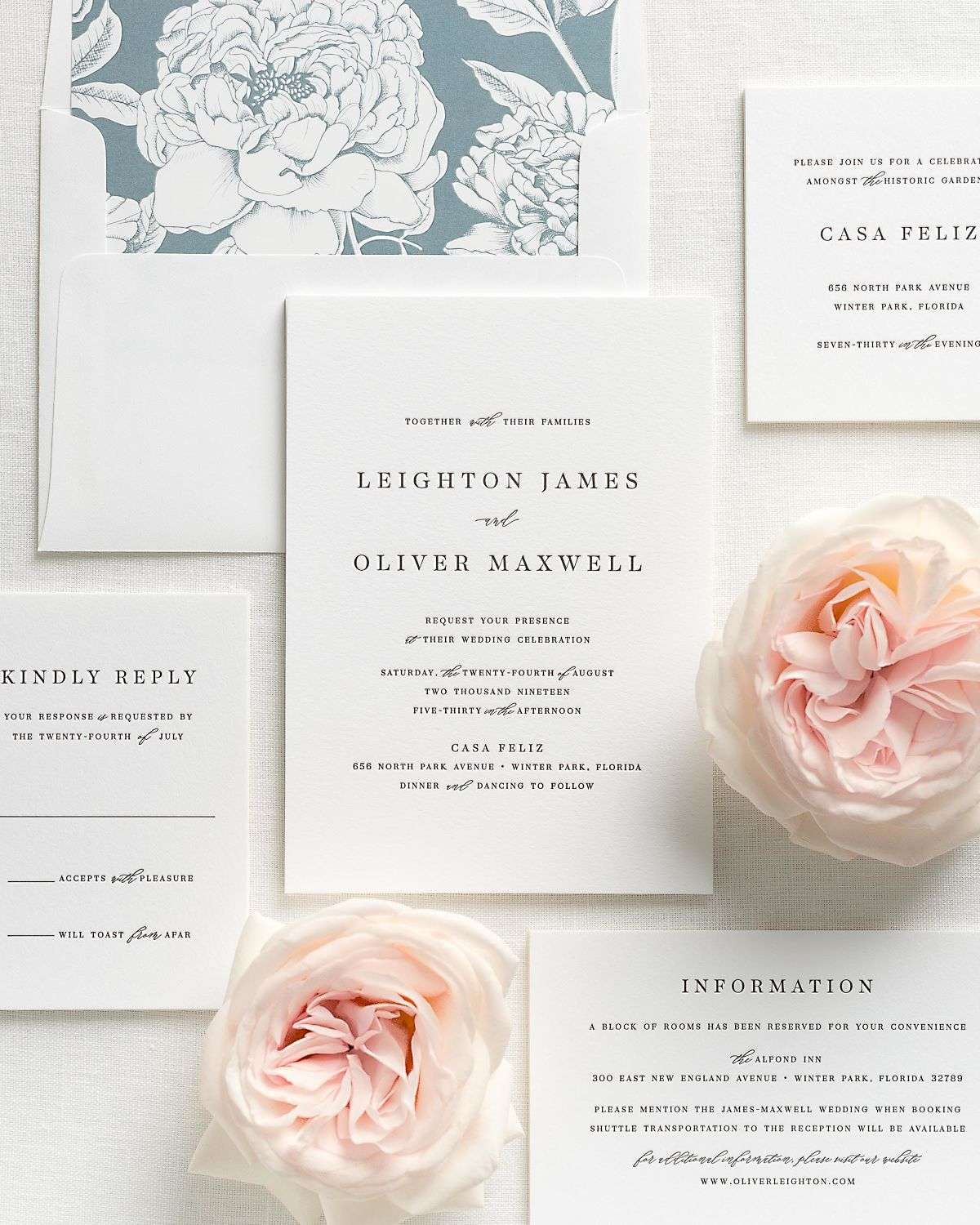 Letterpress Wedding Invitations with Mineral Blooms Envelope Liner and Matching Accessories