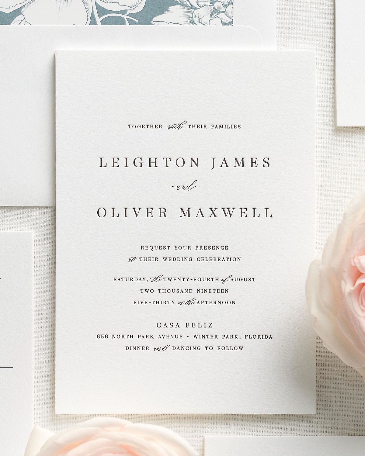 Blue Wedding Invitation Suite with Letterpress Printing