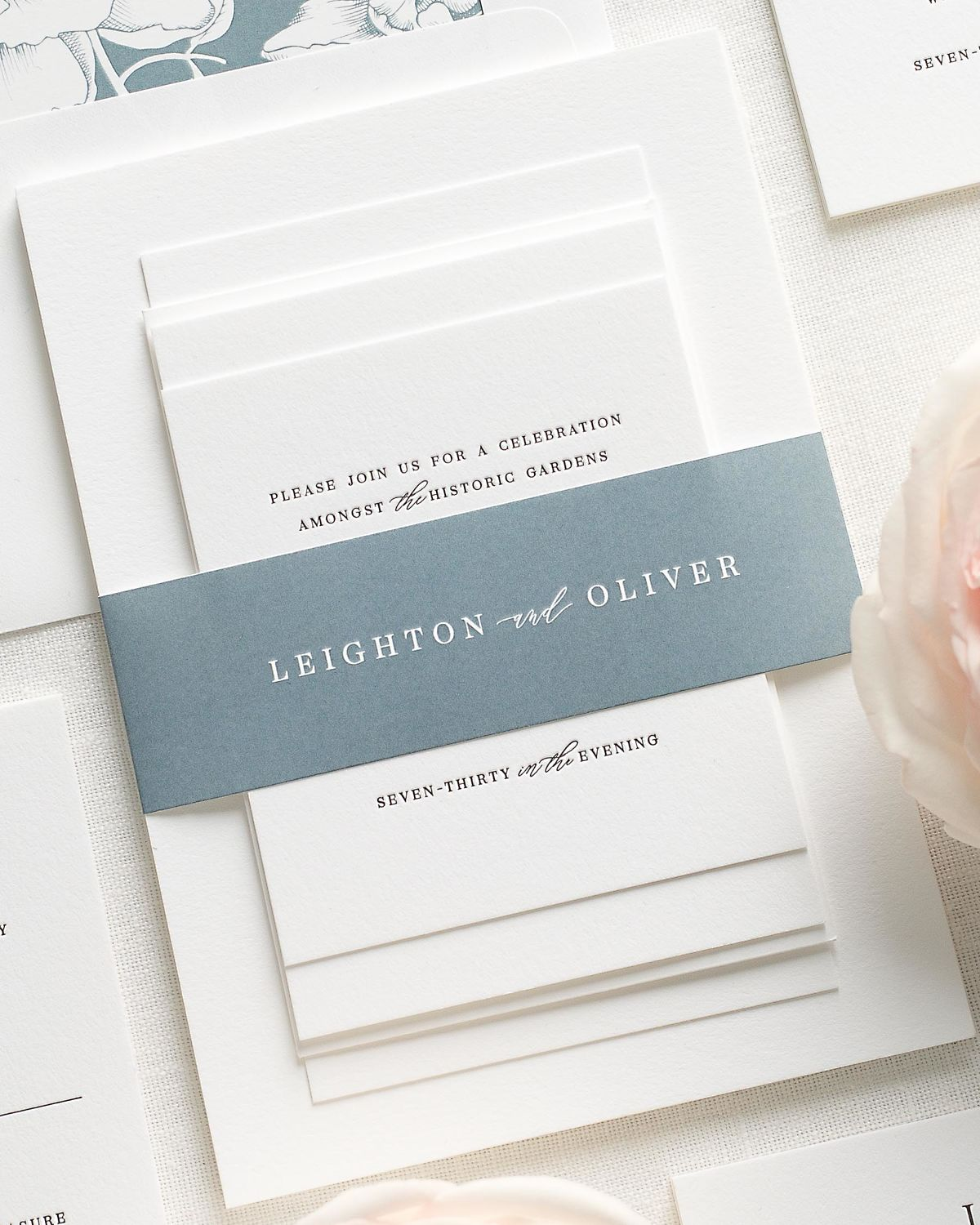 Wedding Invitations with Mineral Blue Belly Band and Letterpress Printing