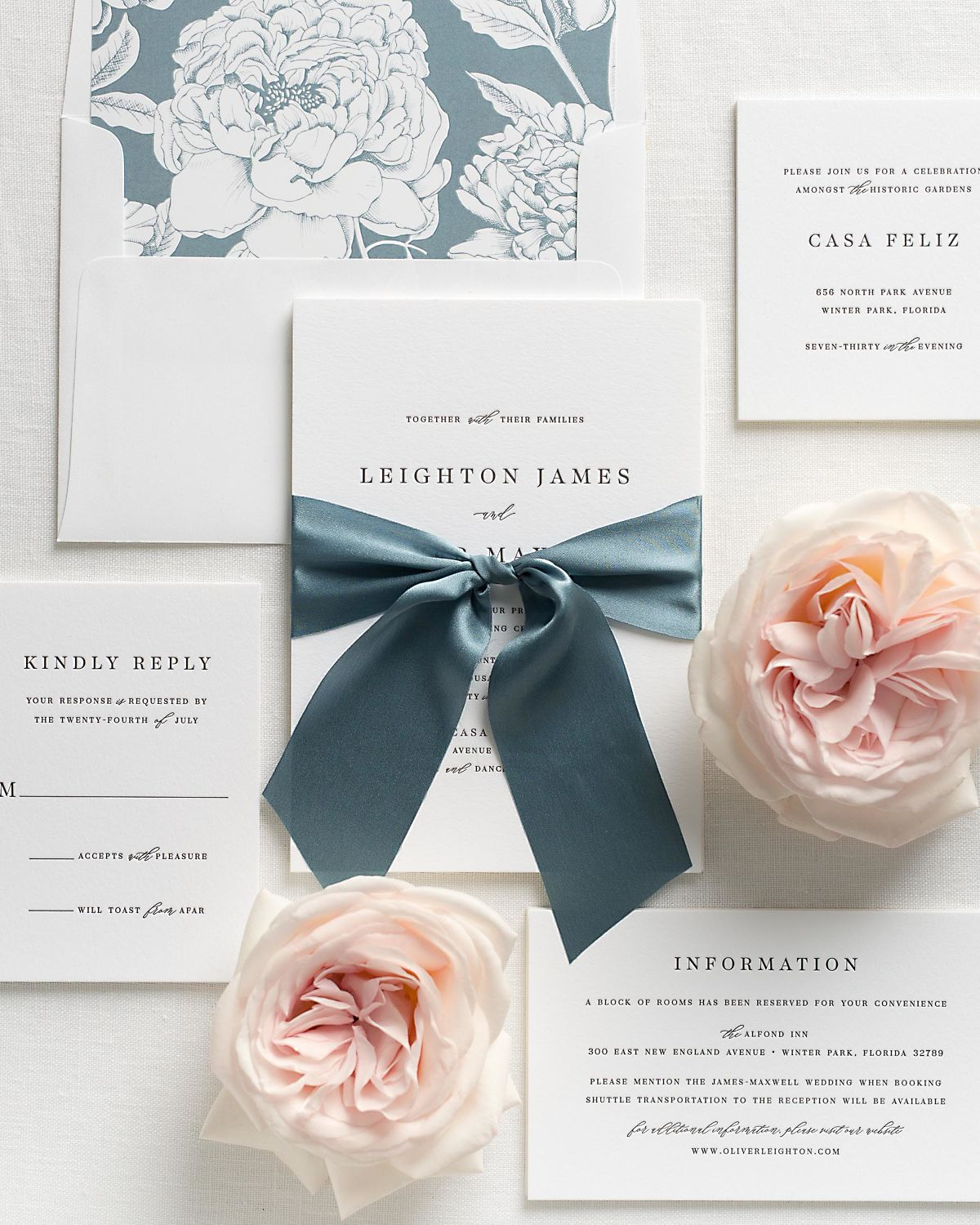 Mineral Blue Wedding Invitations with Steel Blue Silk Ribbon and Letterpress Printing