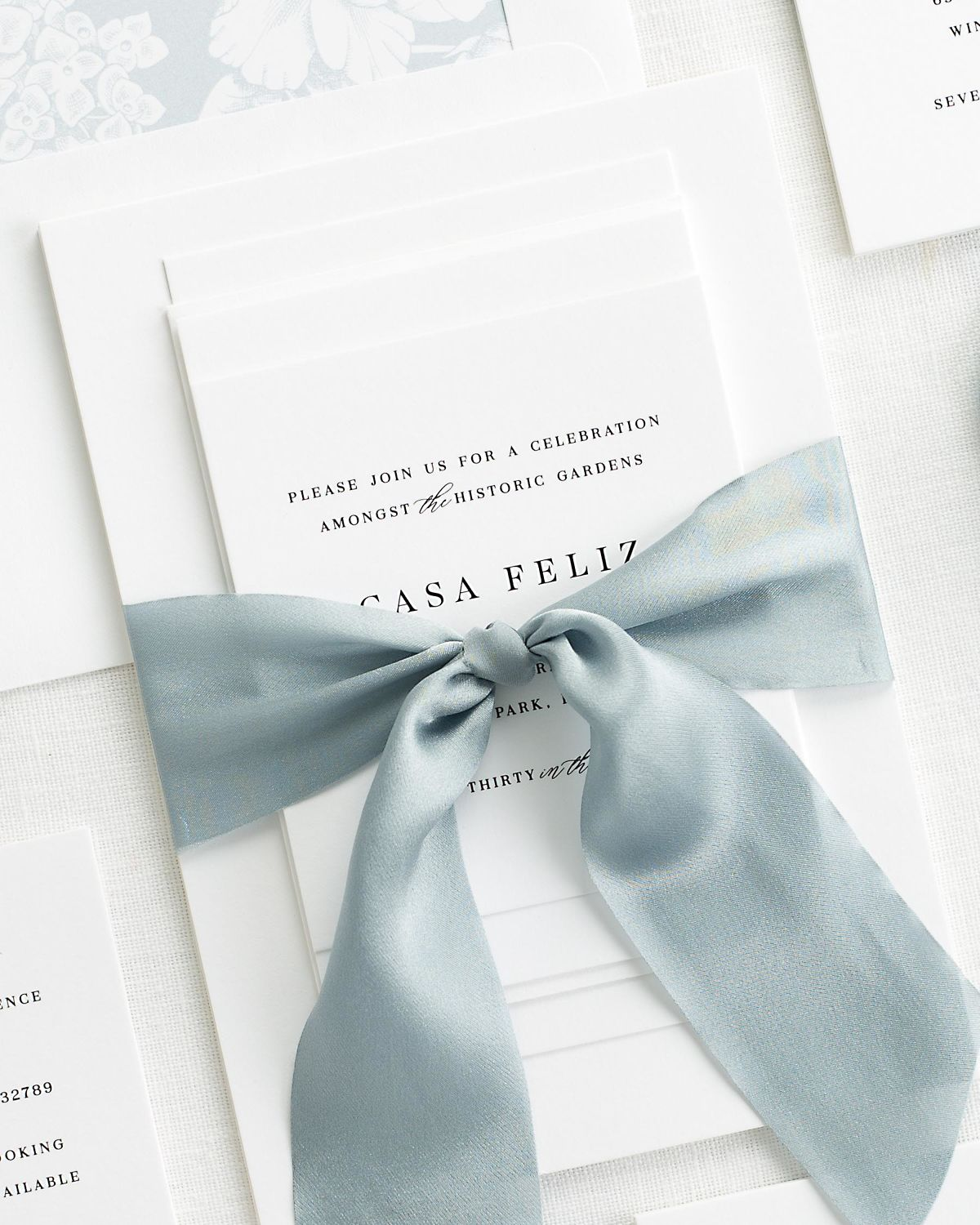 Complete Wedding Stationery Set with Blue Ribbon and Enclosures