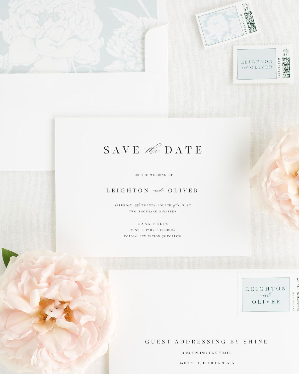 Save the Date with Cloud Envelope Liner and Personalized Postage