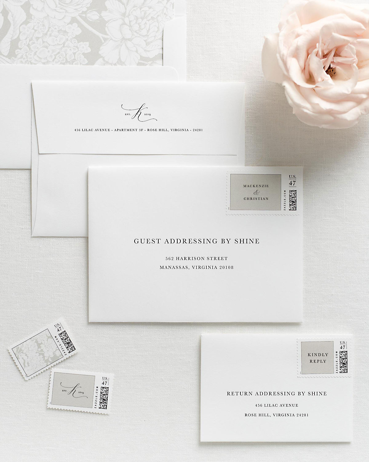 Wedding Invitation Envelopes with Pre-Printed Addresses and Matching Gray Custom Postage