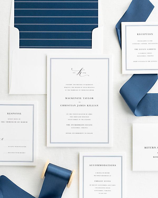 sapphire ribbon wedding invitations with a navy envelope liner