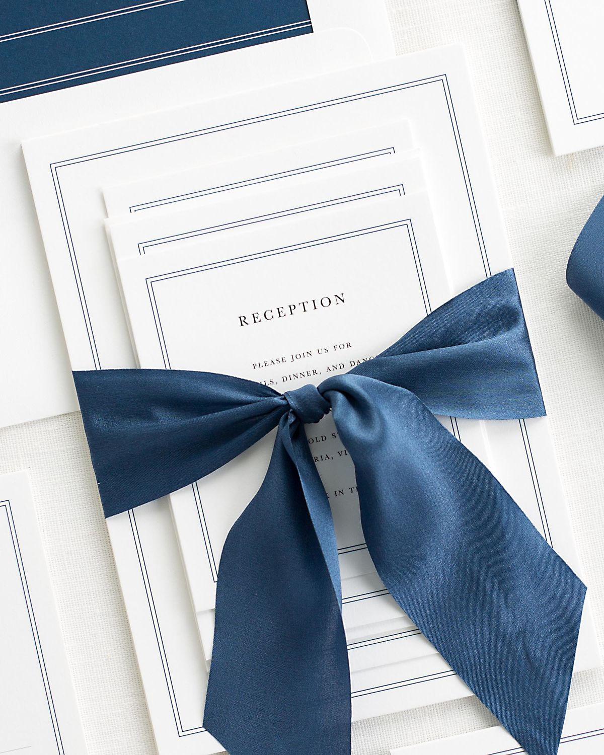 Complete Wedding Stationery Set with Sapphire Blue Ribbon and Enclosures