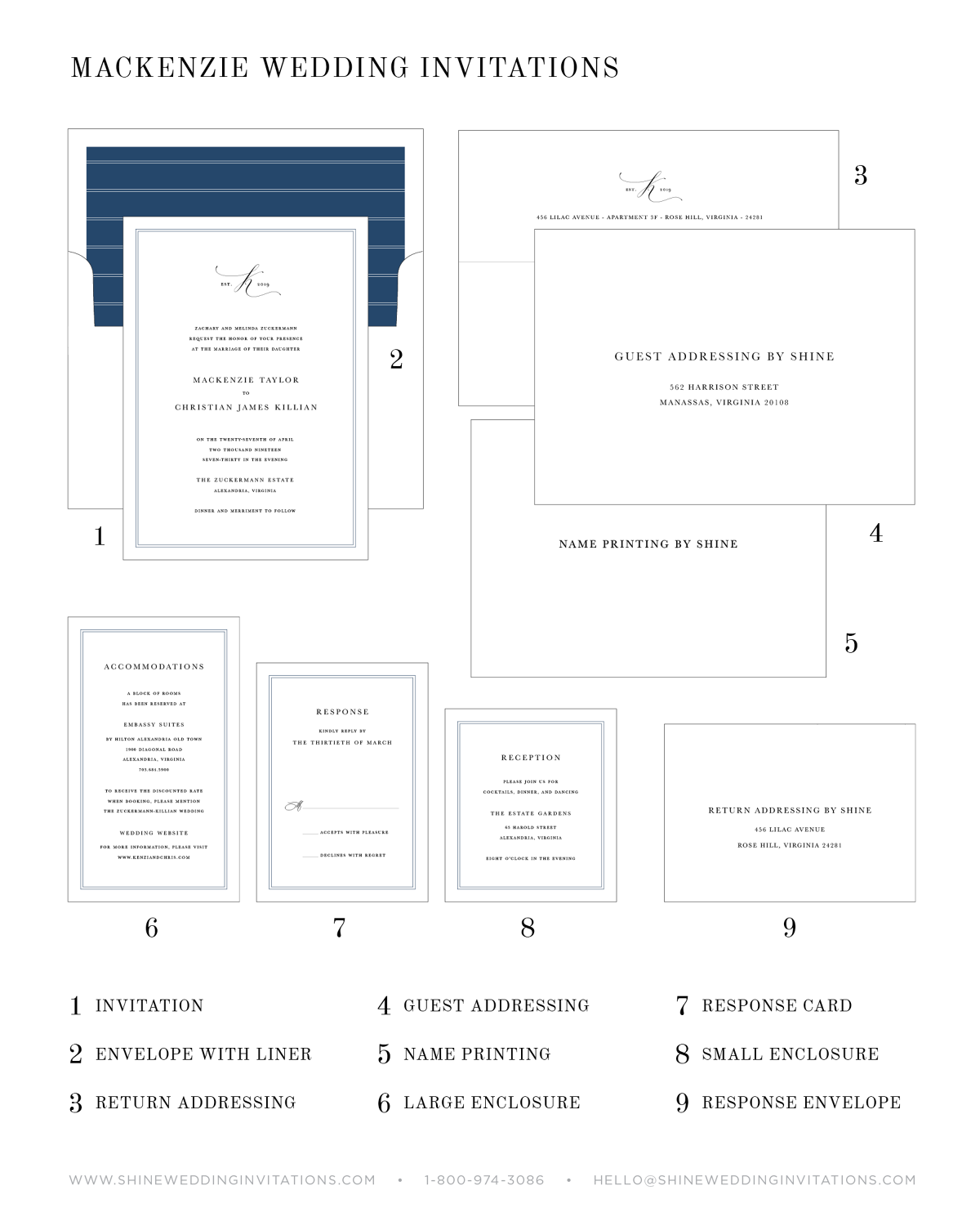 Silk Ribbon Wedding Invitation Diagram