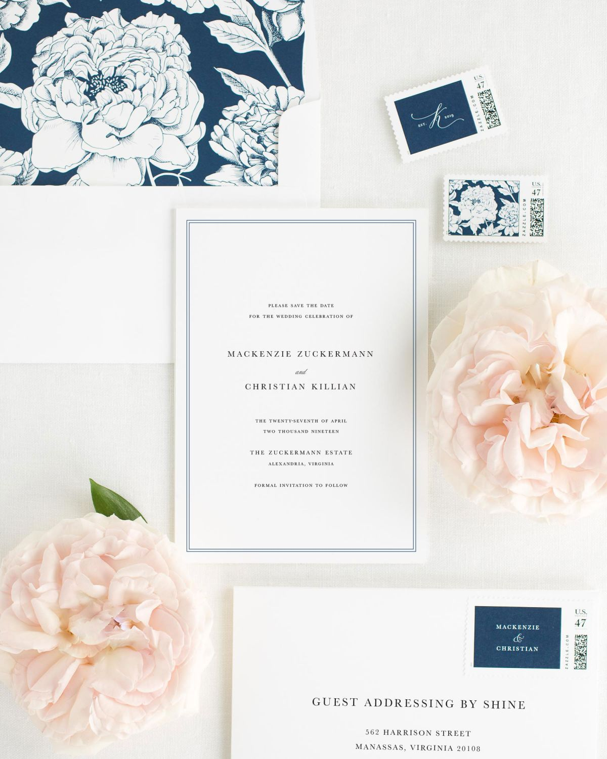 Save the Date with Navy Envelope Liner and Custom Stamps