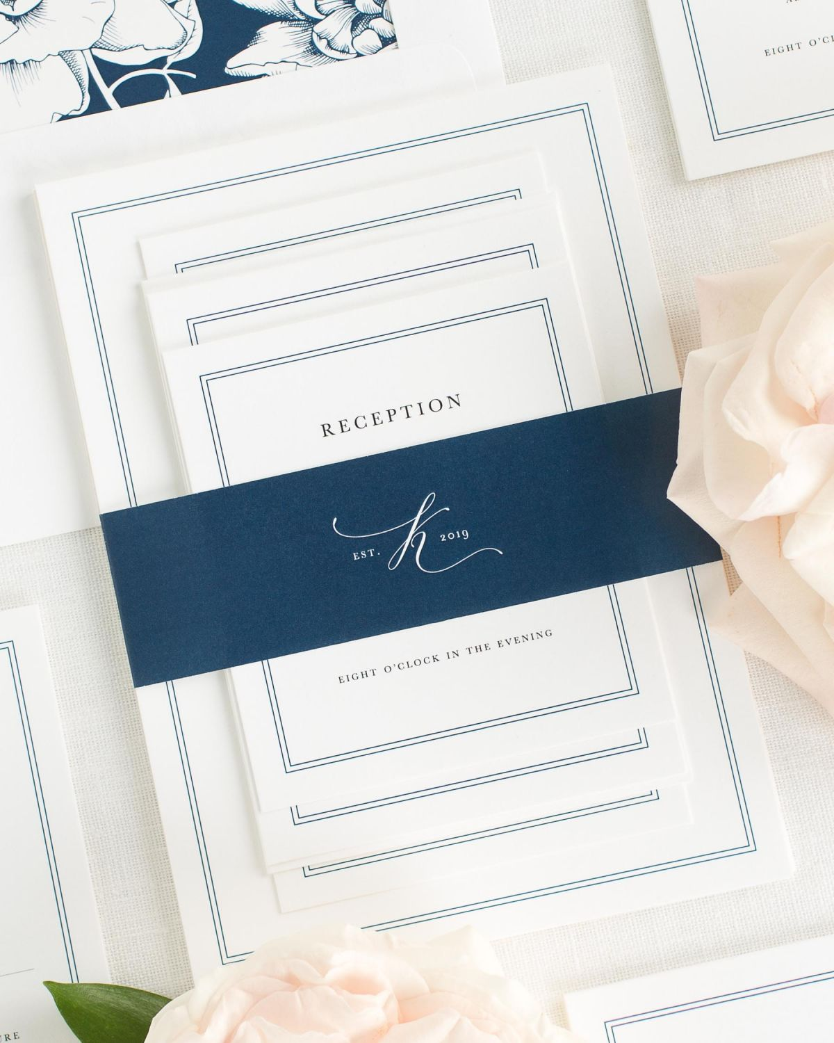 Navy Wedding Invitations with Belly Band and Blooms Envelope Liner