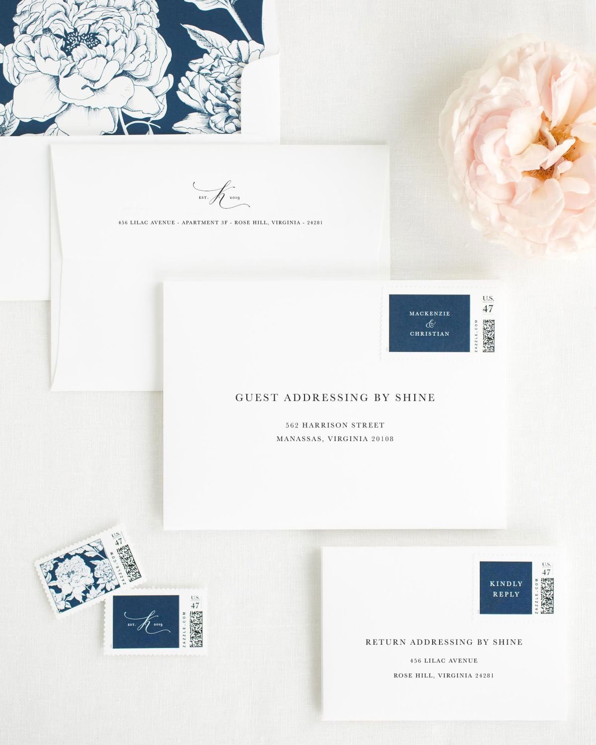Wedding Invitation Envelopes with Navy Custom Postage and Blooms Liner