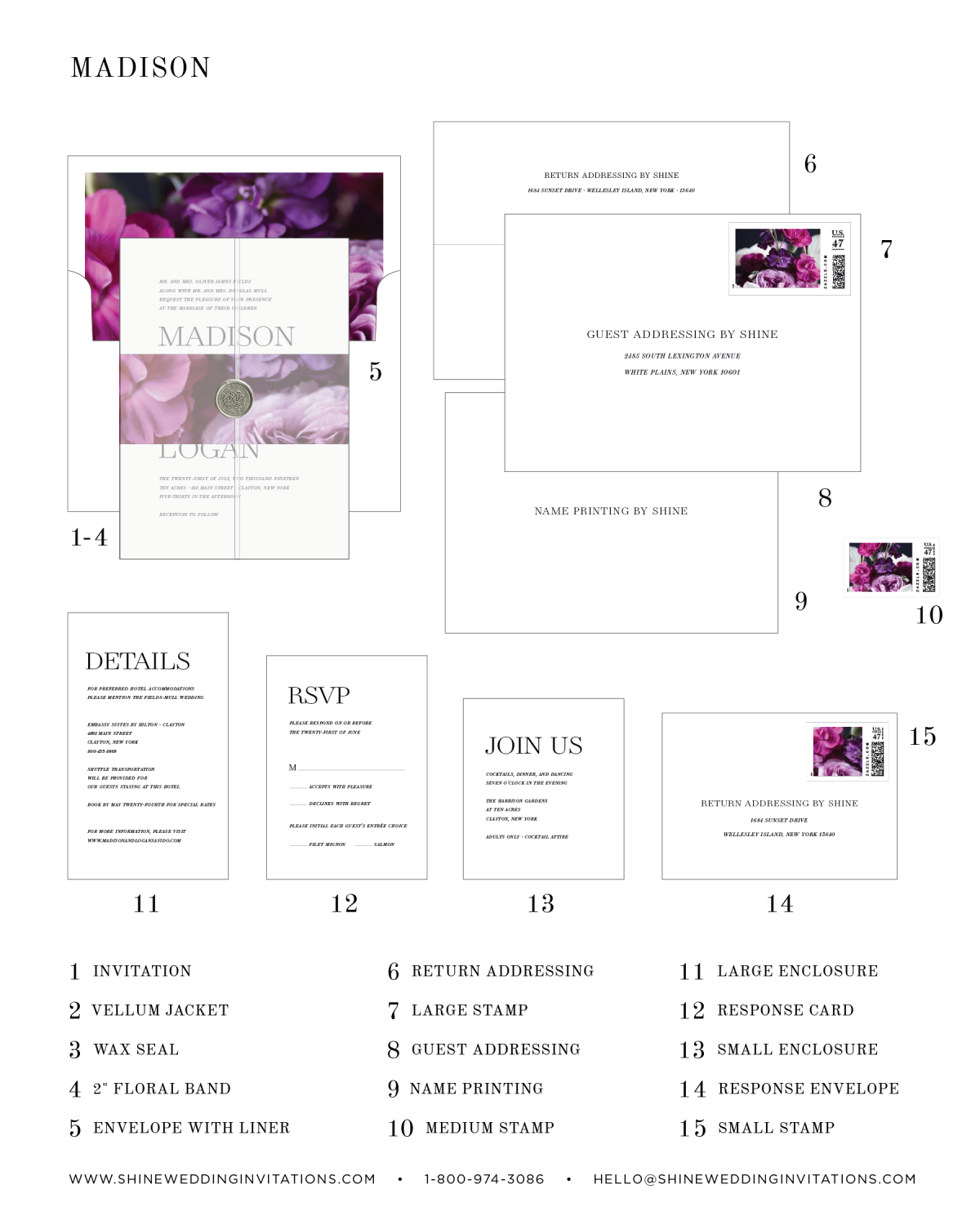 Madison Floral Wedding Invitation Diagram