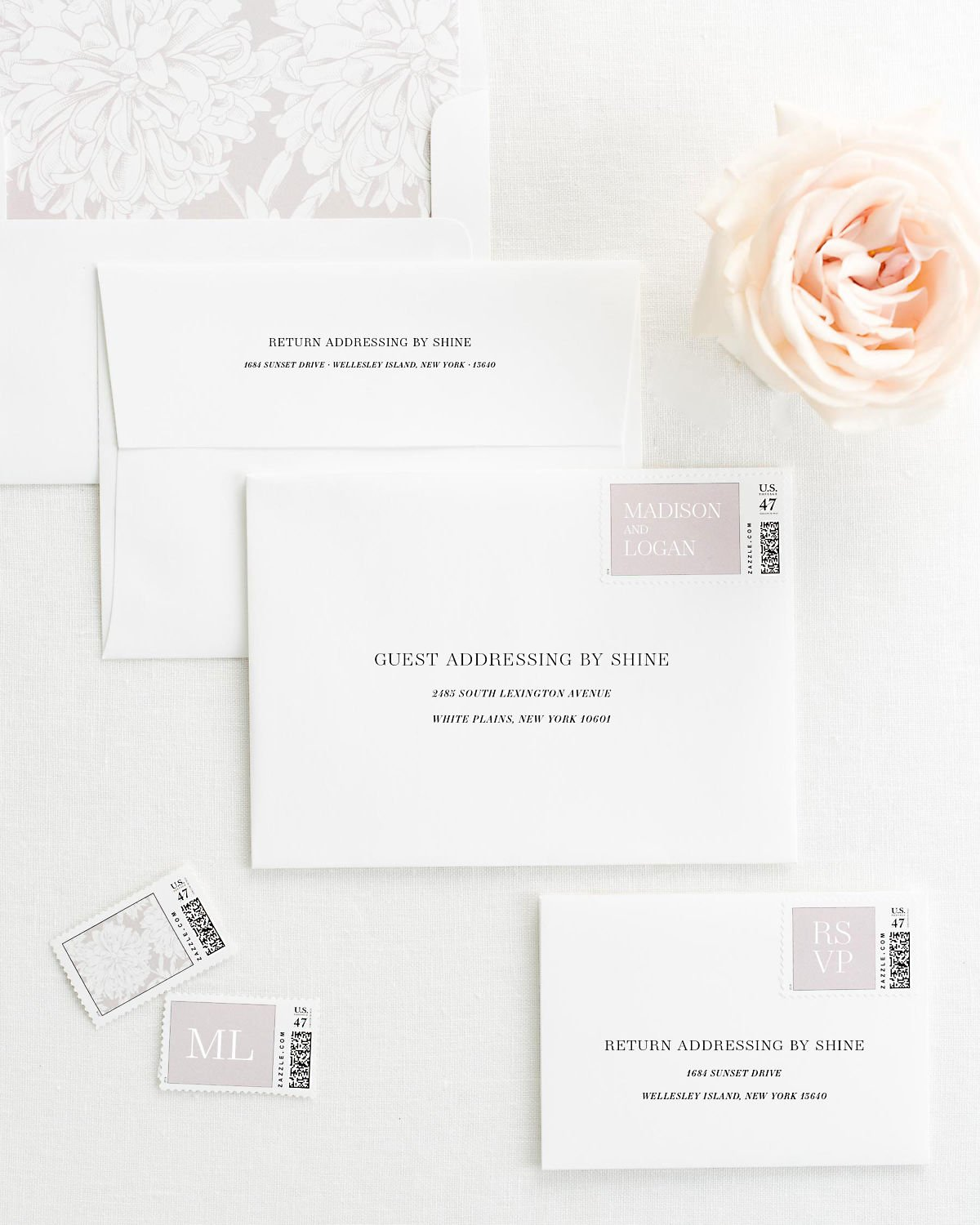Wedding Invitation Envelopes with Pre-Printed Addresses and Matching Sweet Pea Personalized Stamps