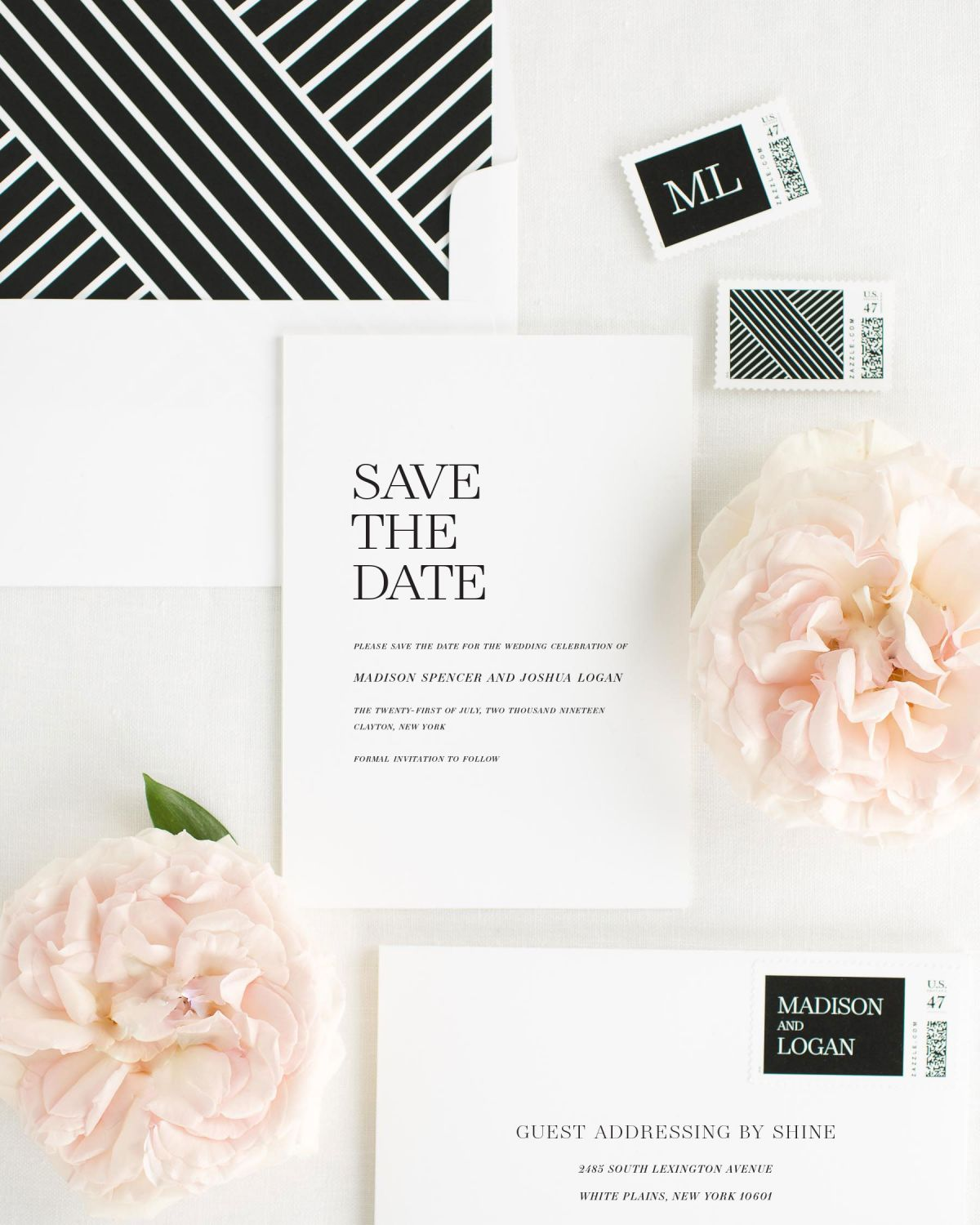 sweet pea save the dates with custom stamps