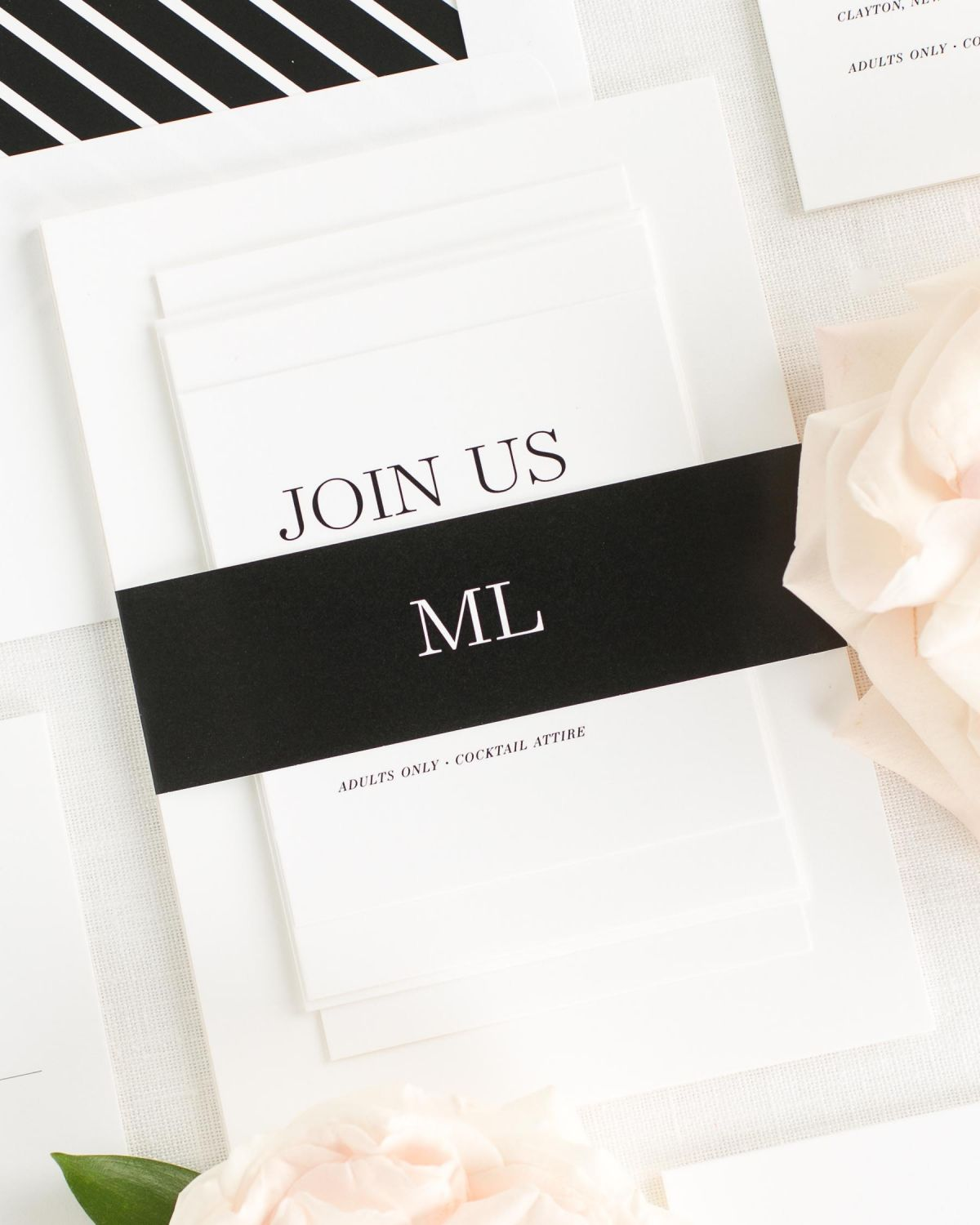 Black Wedding Invitations with Belly Band and Geometric Envelope Liner