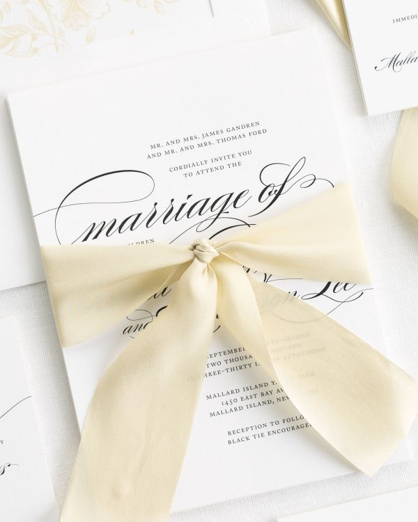 Marriage Ribbon Wedding Invitations