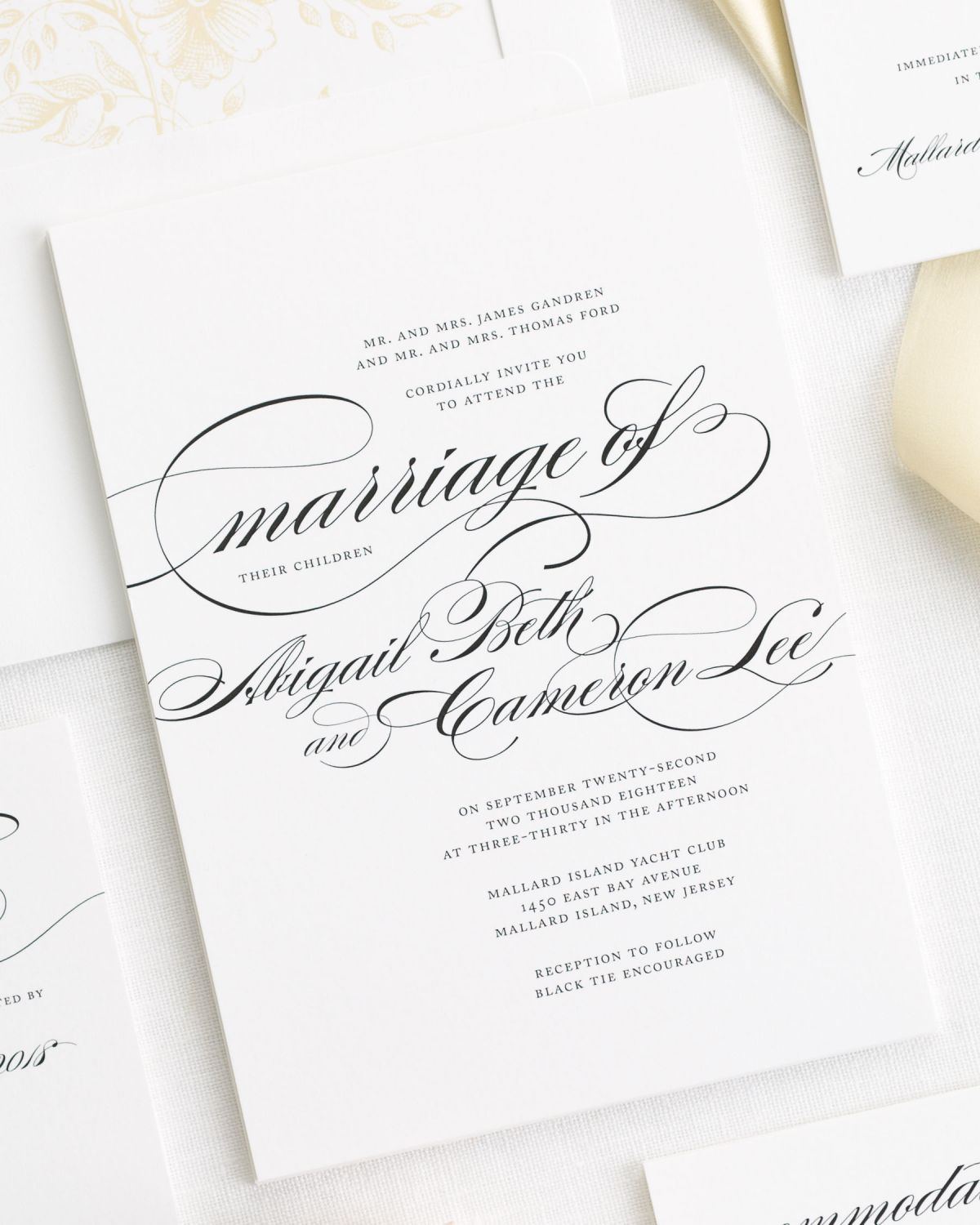 Large Script Names Wedding Invitations