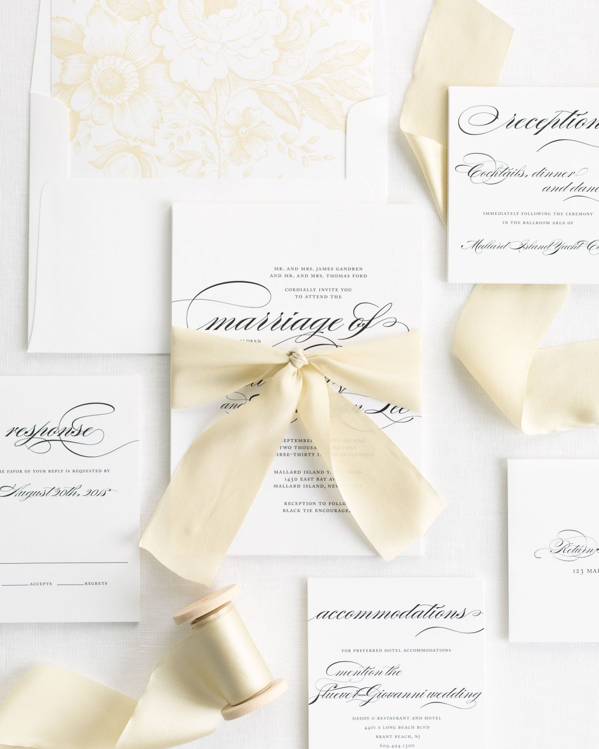 Complete Wedding Invitation Suite with Silk Ribbon