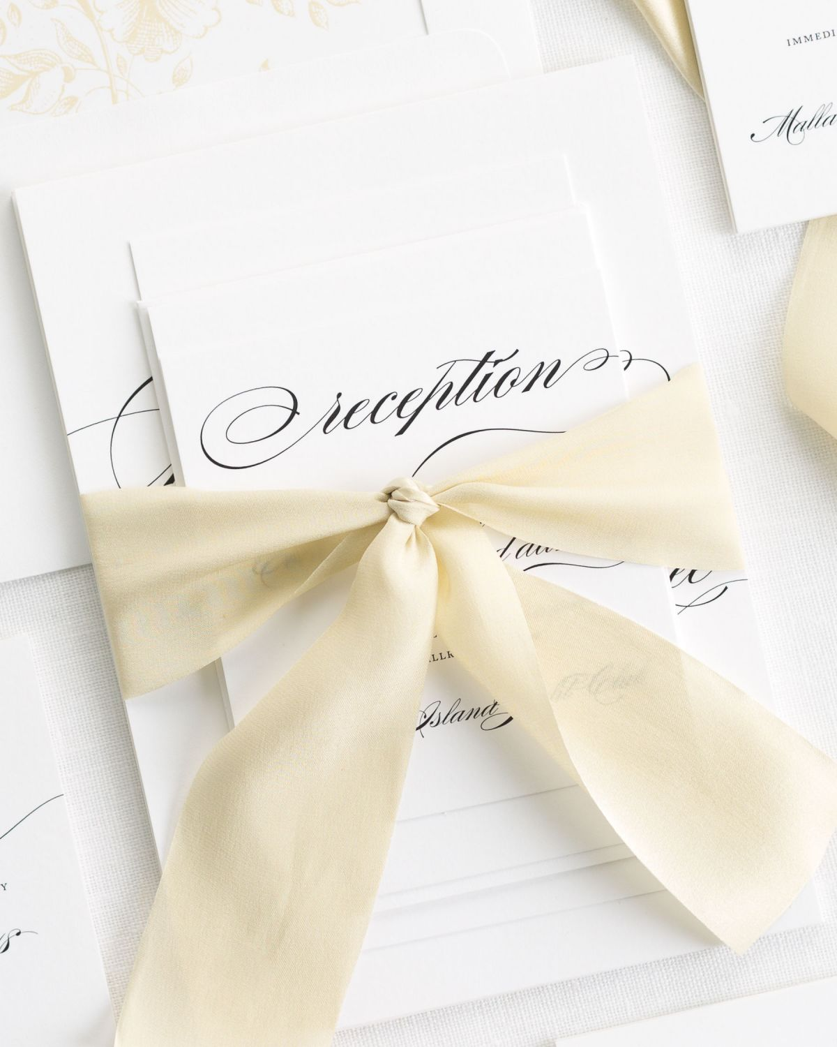 Gold Wedding Invitations with Silk Ribbon