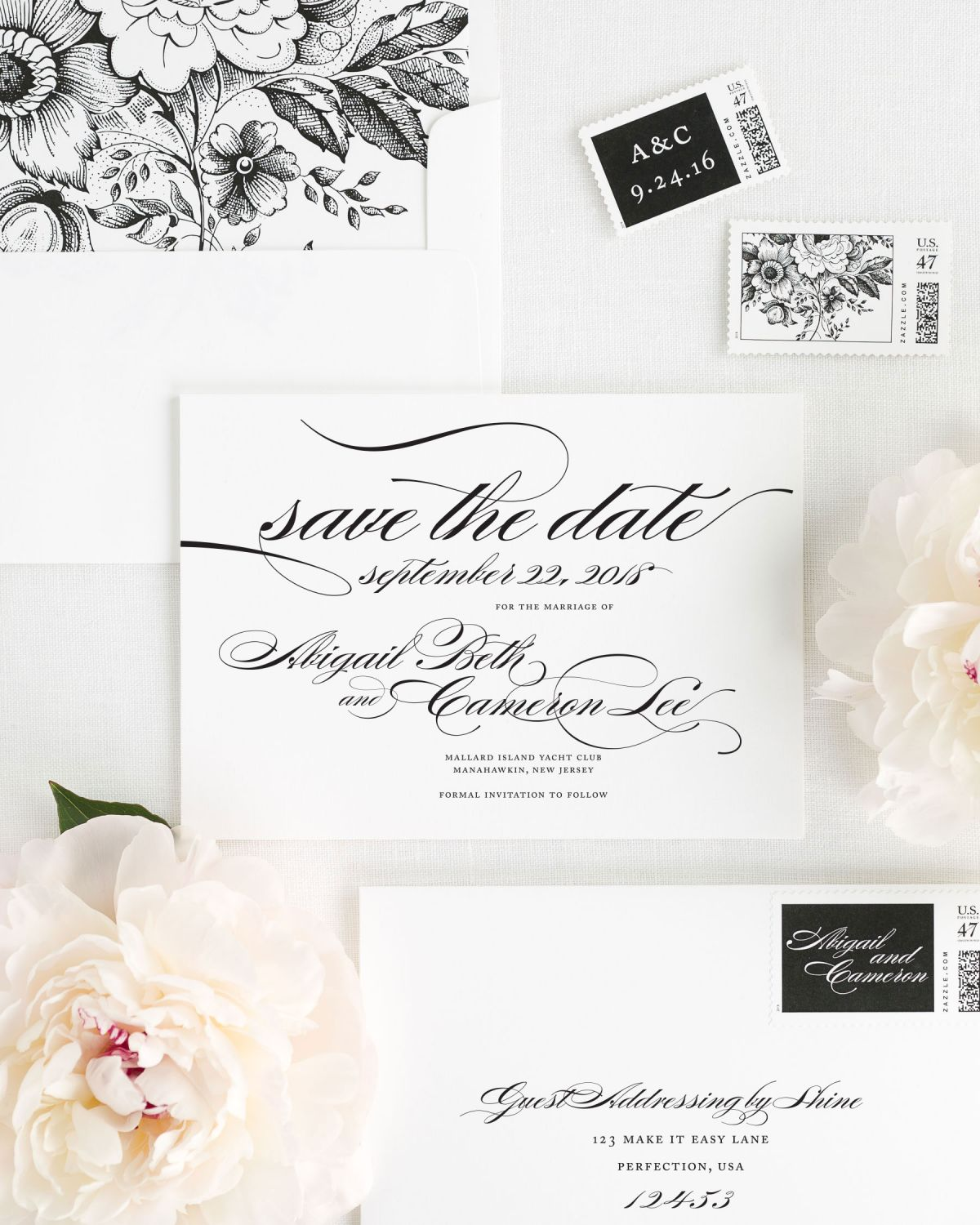Save the Date with Black Floral Envelope Liner and Personalized Stamps