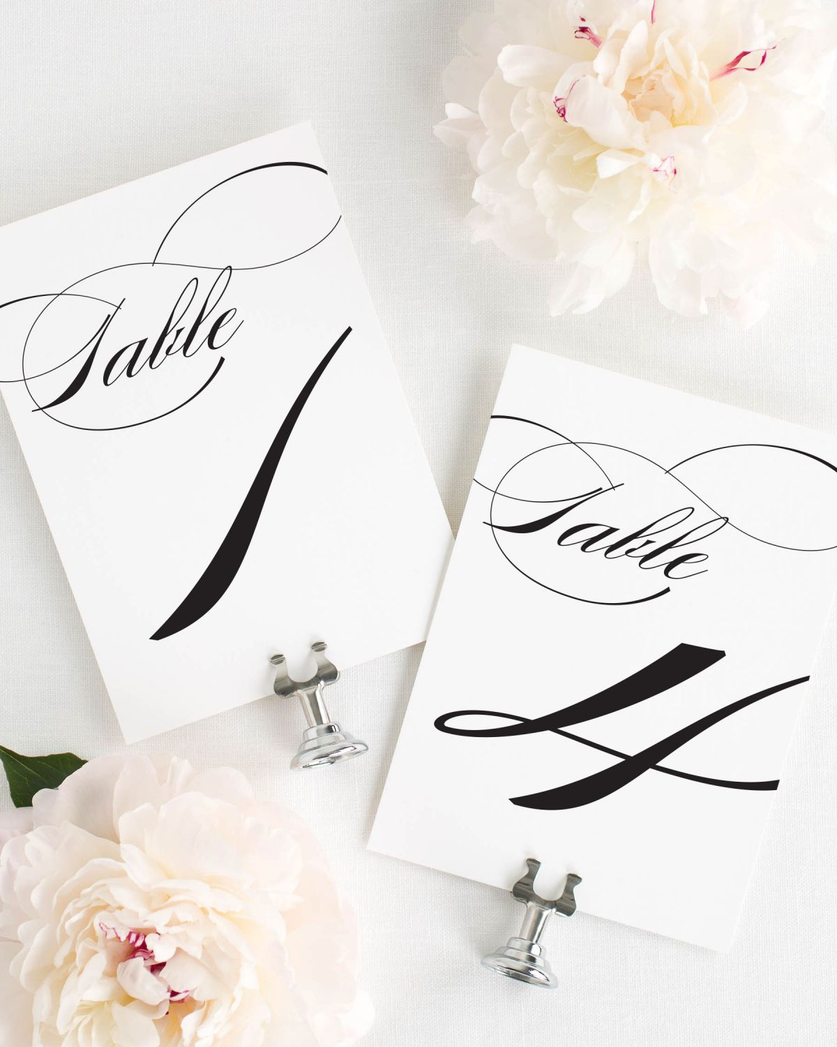 Classic Large Script Table Numbers