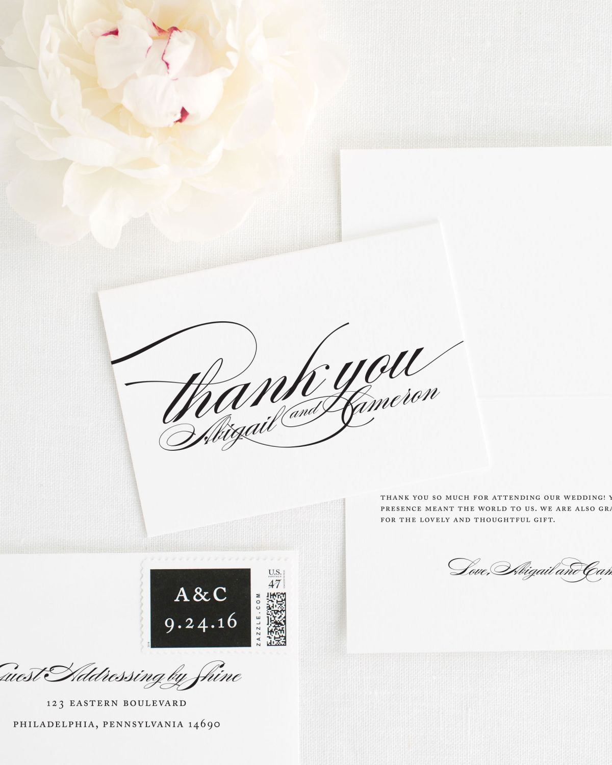 Thank You Card with Personalized Stamps