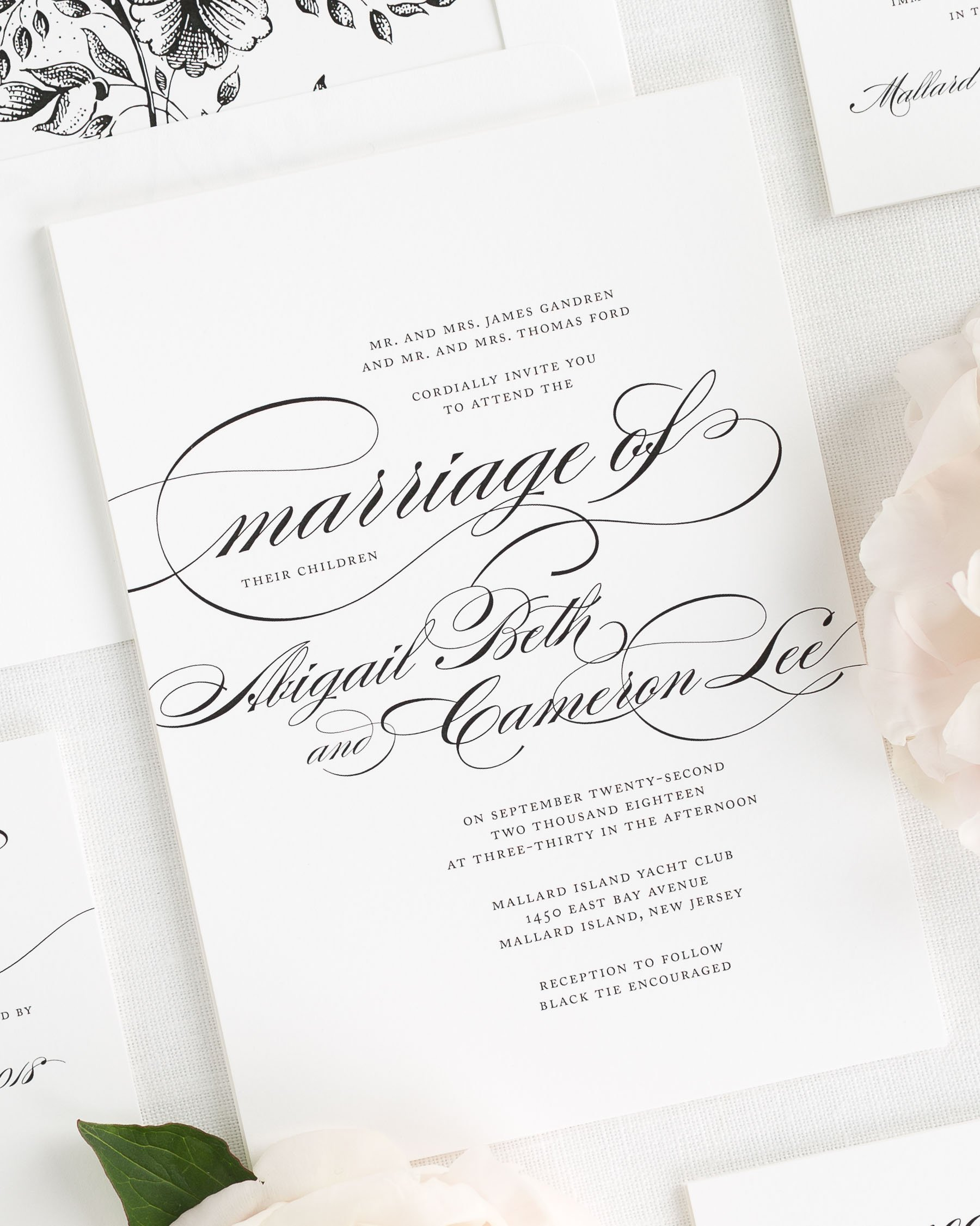 Beautiful Wedding Invitation in Black and White with Script ...