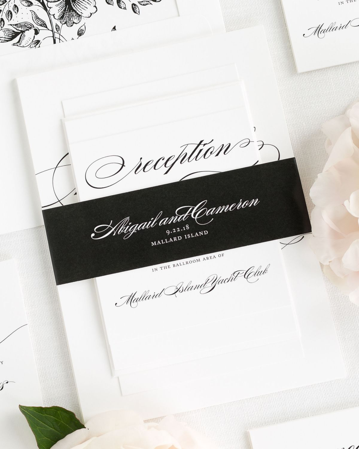 Black Wedding Invitations with Belly Band and Garden Rose Envelope Liner