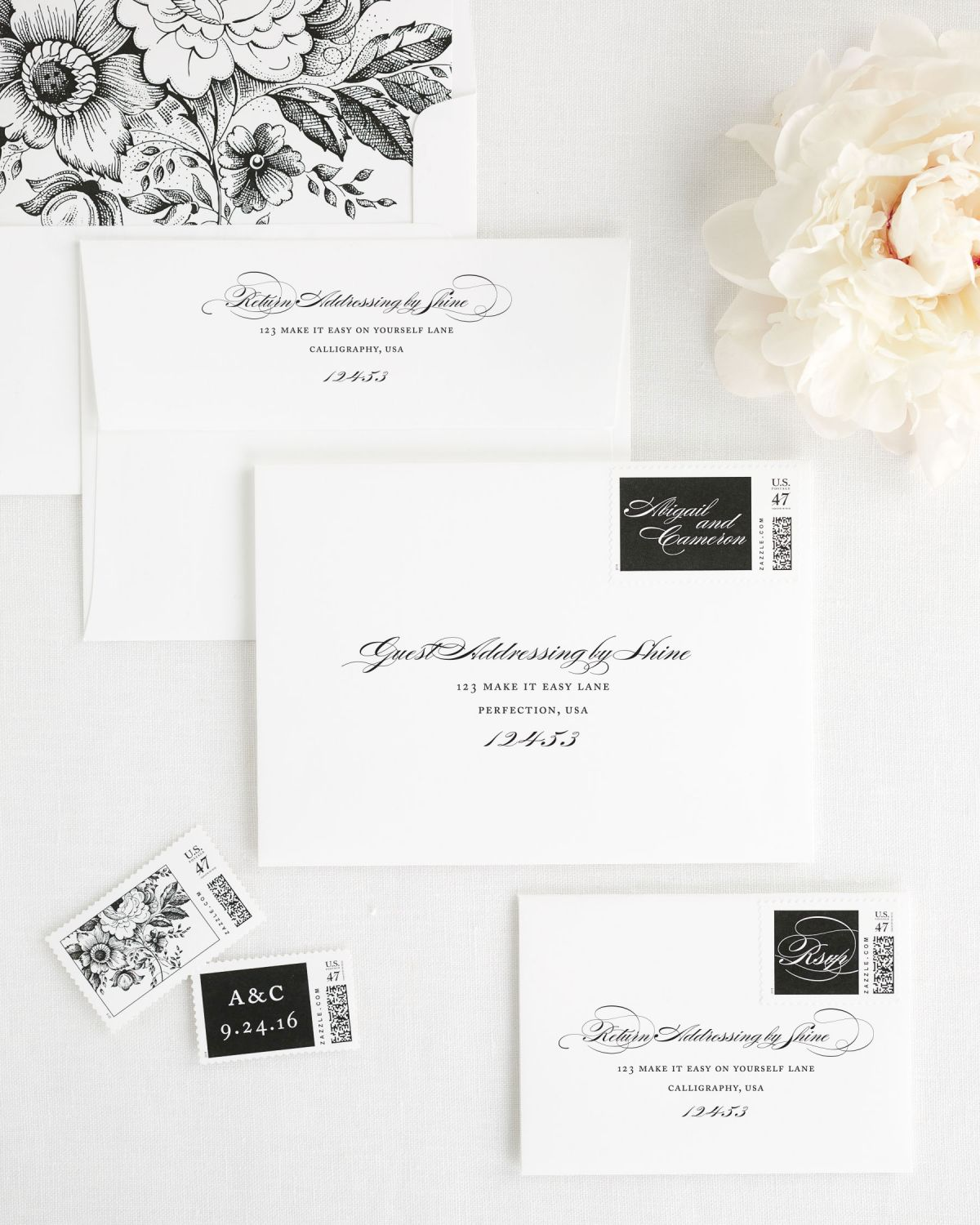 Wedding Invitation Envelopes with Black Personalized Stamps and Floral Envelope Liner