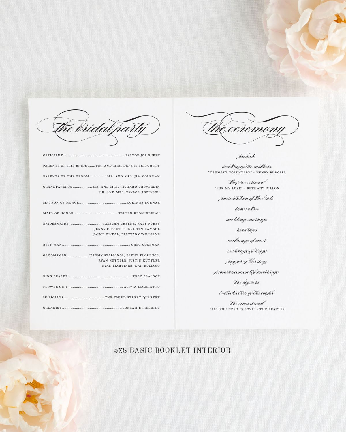 Wedding Program Interior